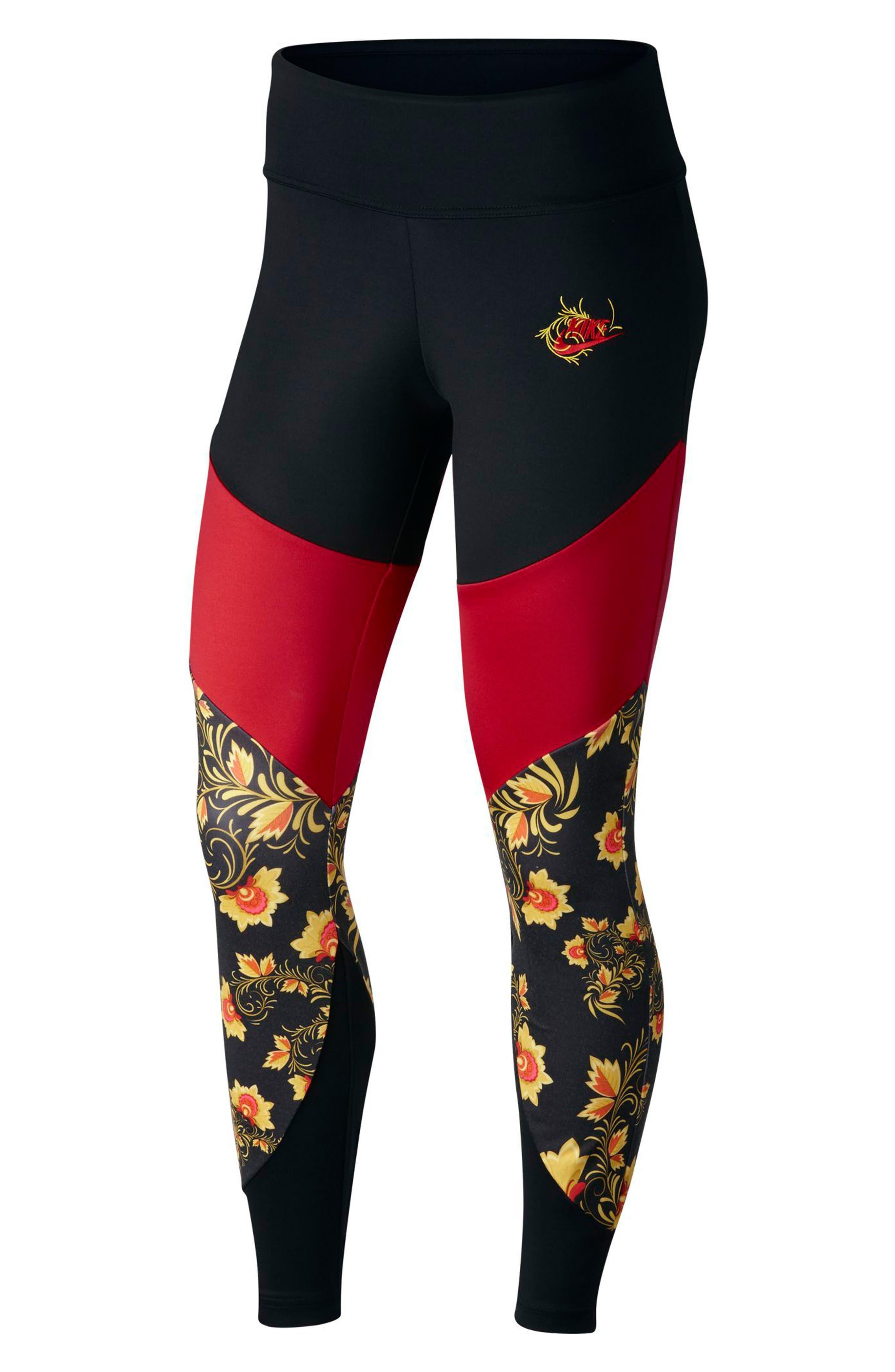 Sportswear Essential Colorblock Floral Women's Leggings,                             Main thumbnail 1, color,                             010