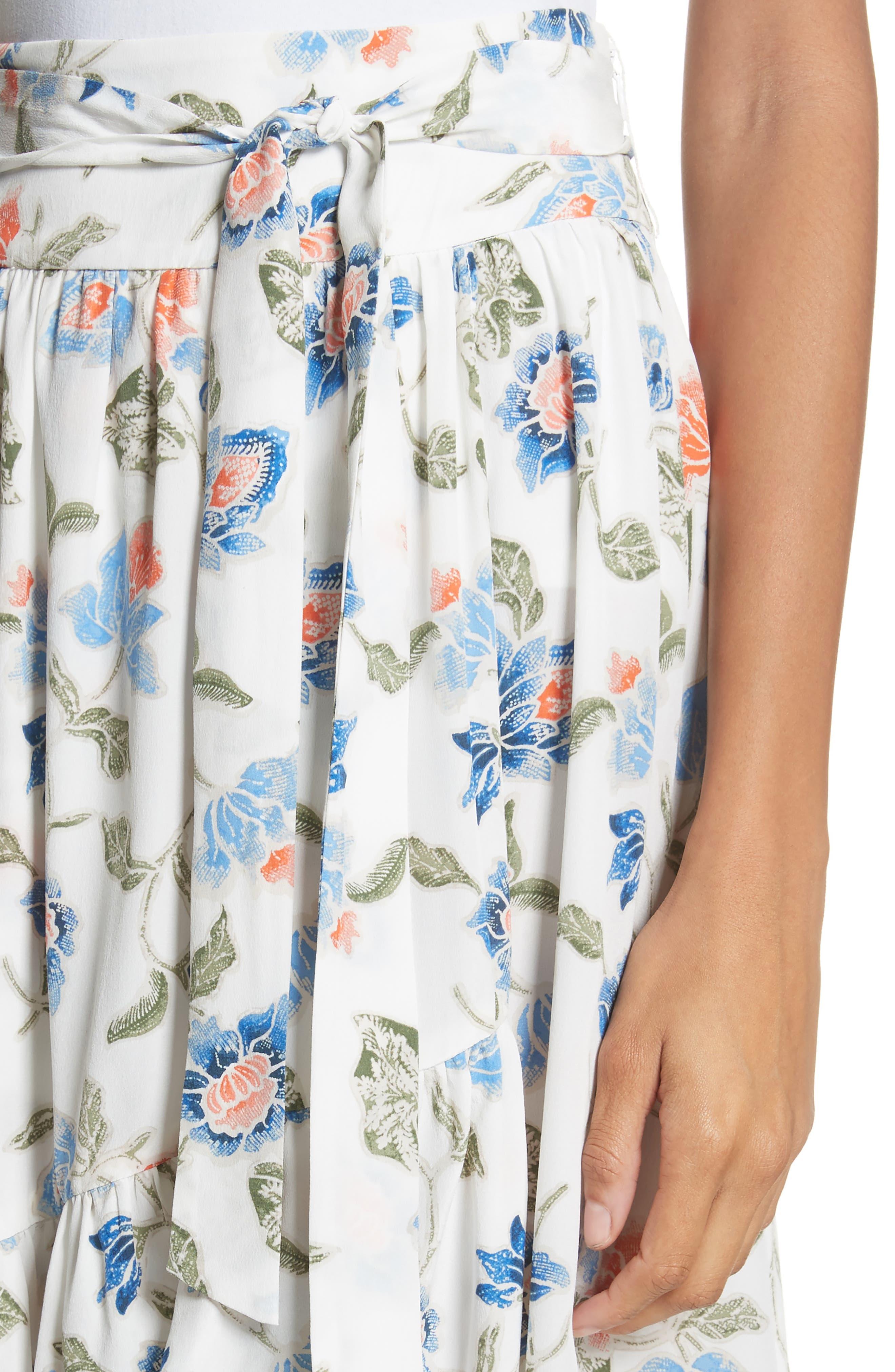 Denisha Floral Ruffle Silk Skirt,                             Alternate thumbnail 4, color,                             114