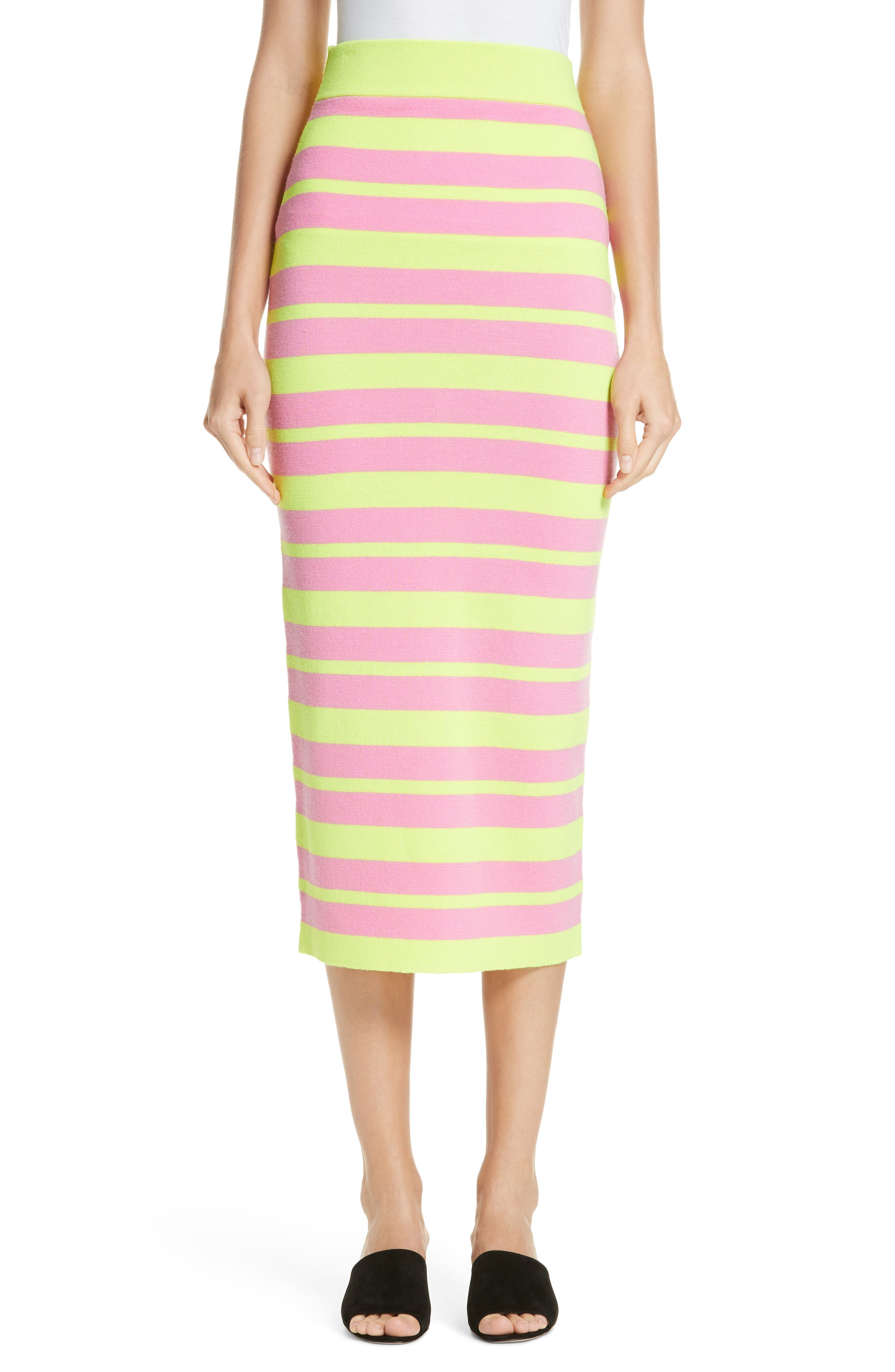 VICTOR GLEMAUD Stripe Knit Maxi Skirt in Lime And Pink Combo