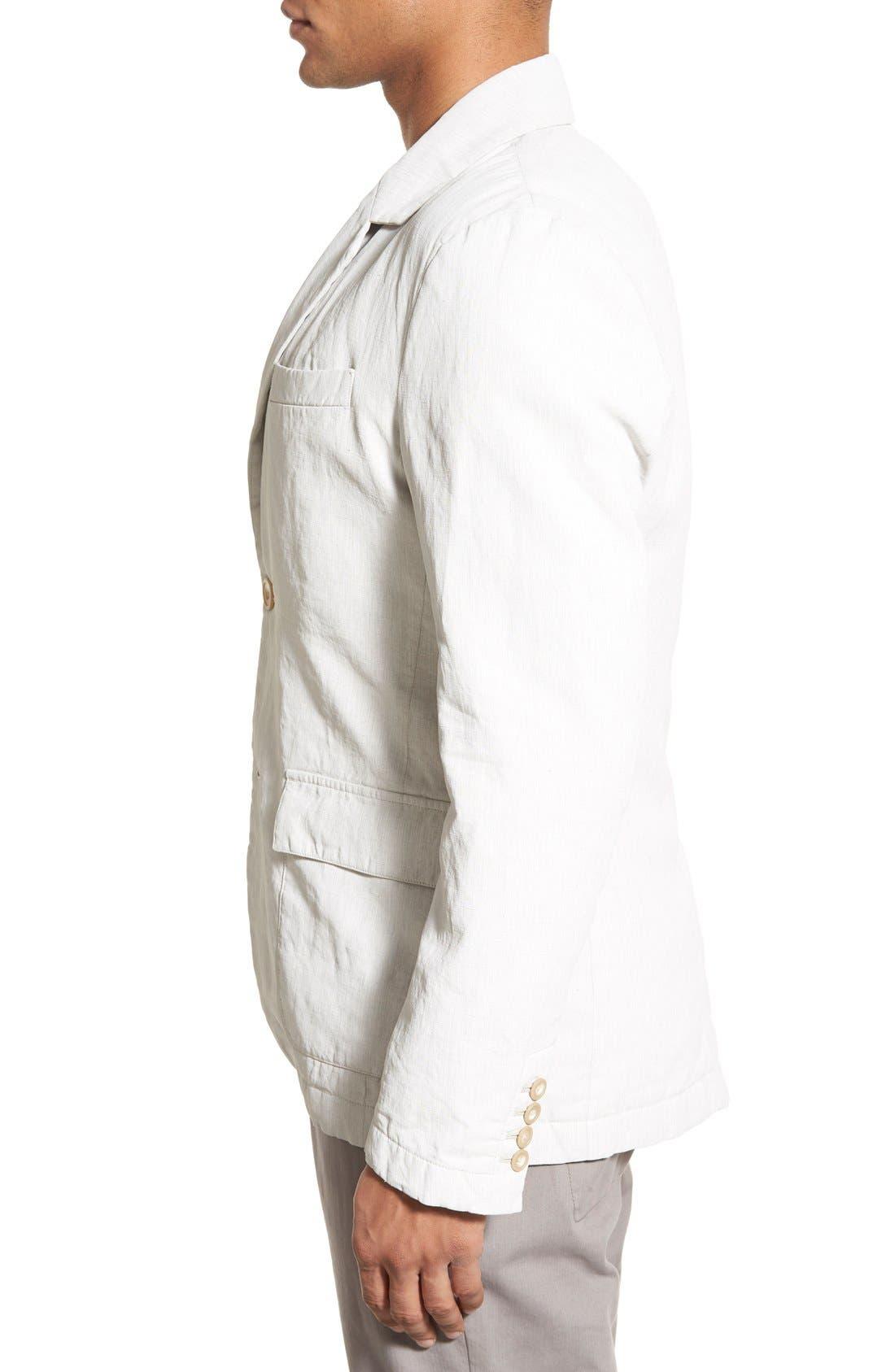 Linen Blend Unconstructed Sport Coat,                             Alternate thumbnail 4, color,