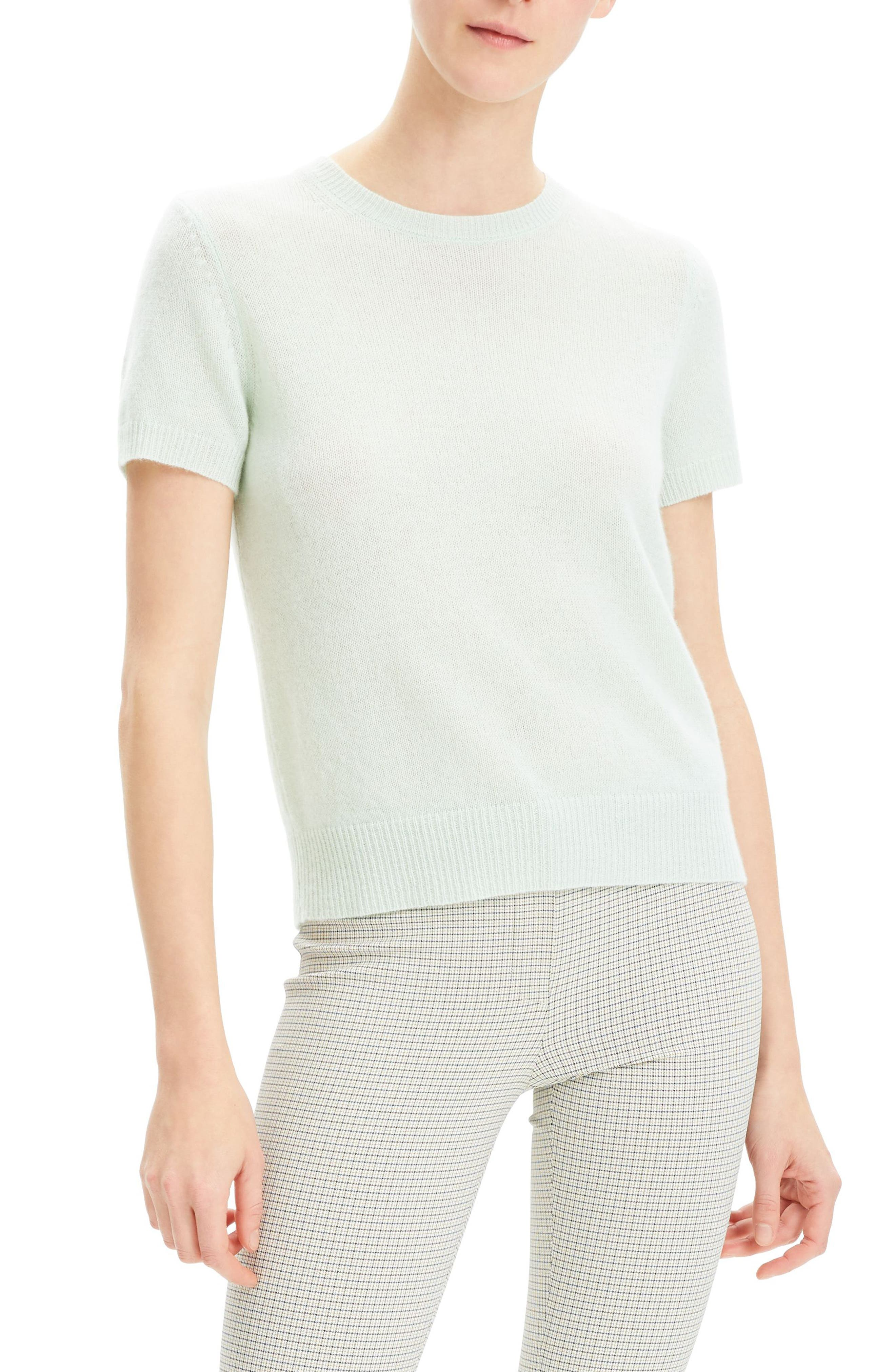 THEORY Featherweight Cashmere Sweater, Main, color, OPAL GREEN