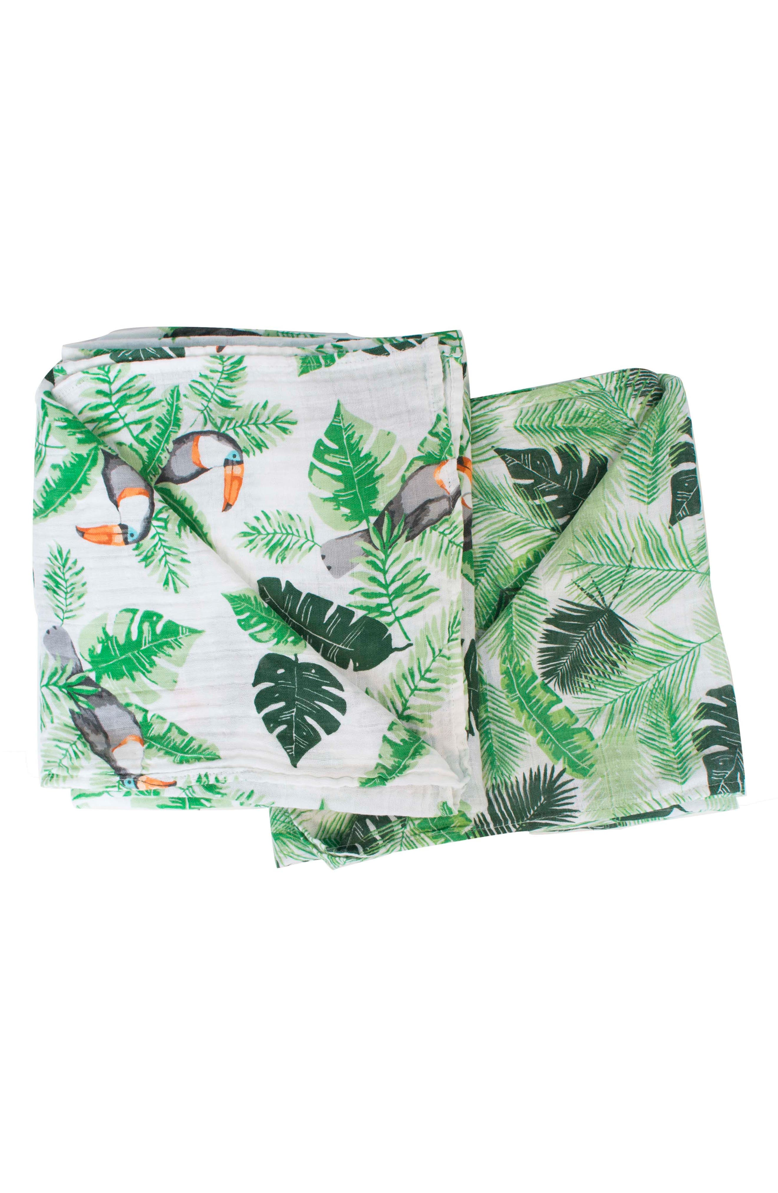 Classic 2-Pack Muslin Swaddle Blankets,                             Main thumbnail 1, color,                             RIO/ PALMS