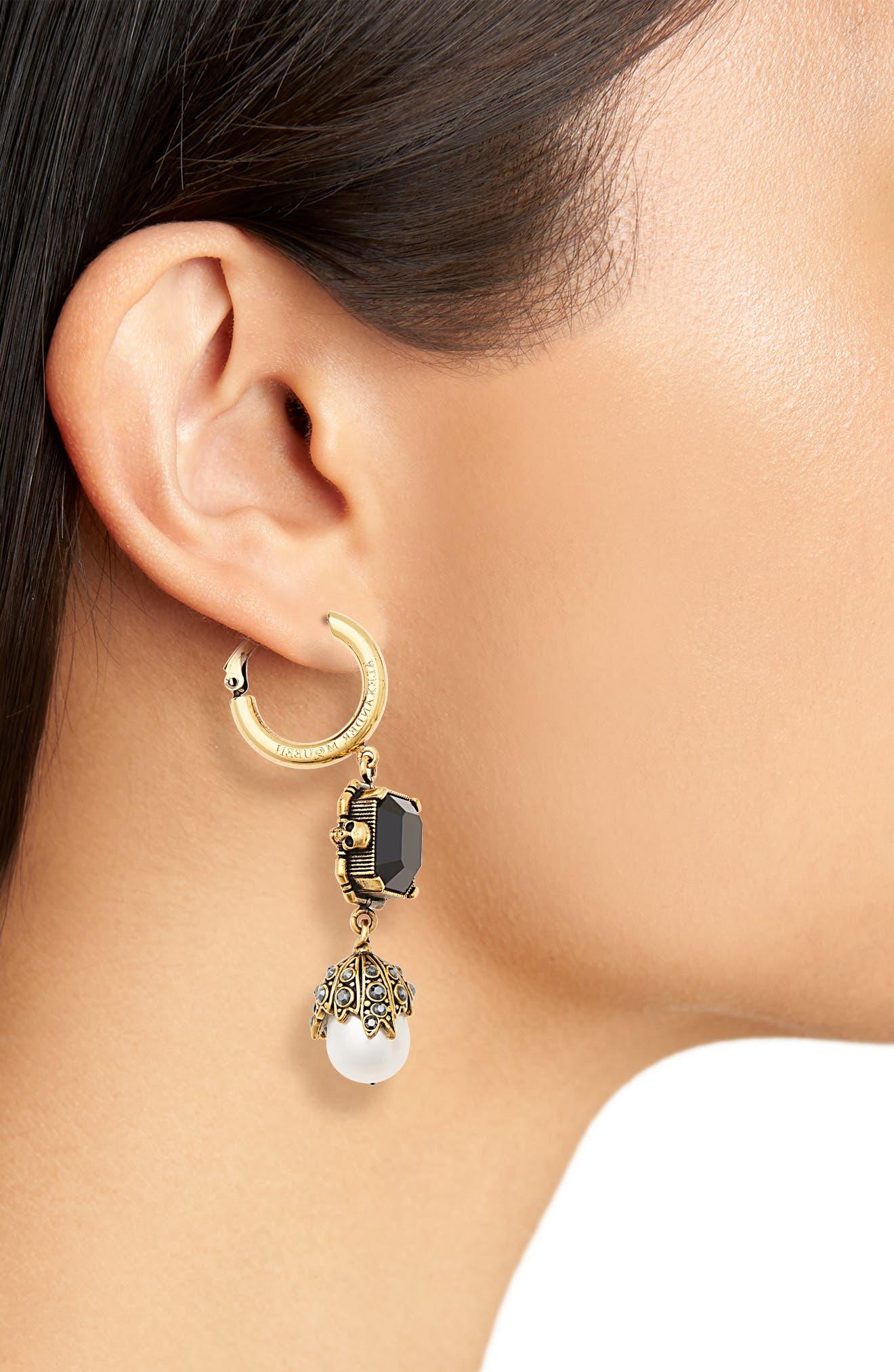 Pearl Drop Earrings,                             Alternate thumbnail 2, color,                             BLACK/ GOLD