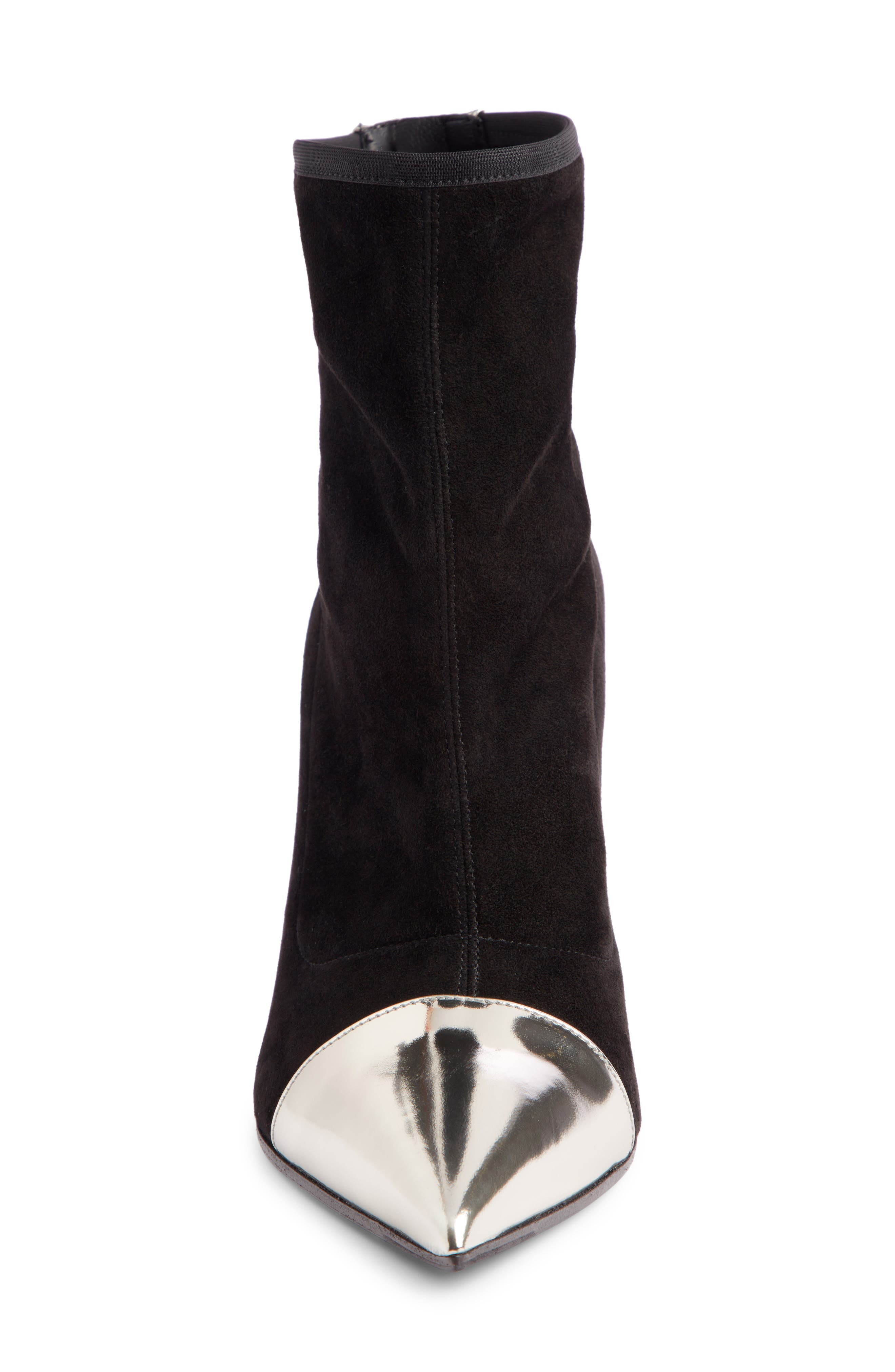 Blair Pointy Toe Bootie,                             Alternate thumbnail 4, color,                             BLACK/ SILVER