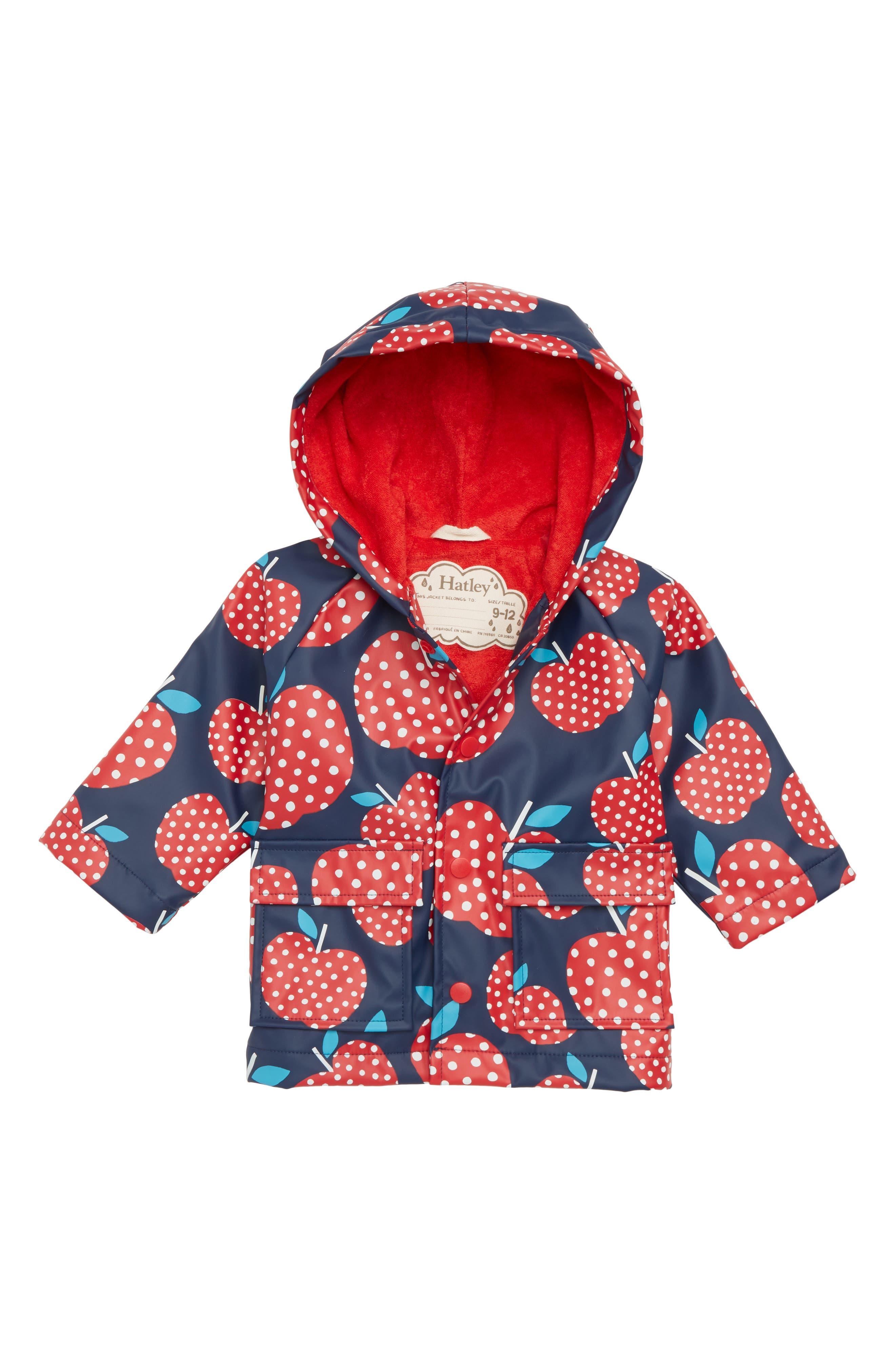 Polka Dot Apples Waterproof Hooded Raincoat,                             Main thumbnail 1, color,                             600