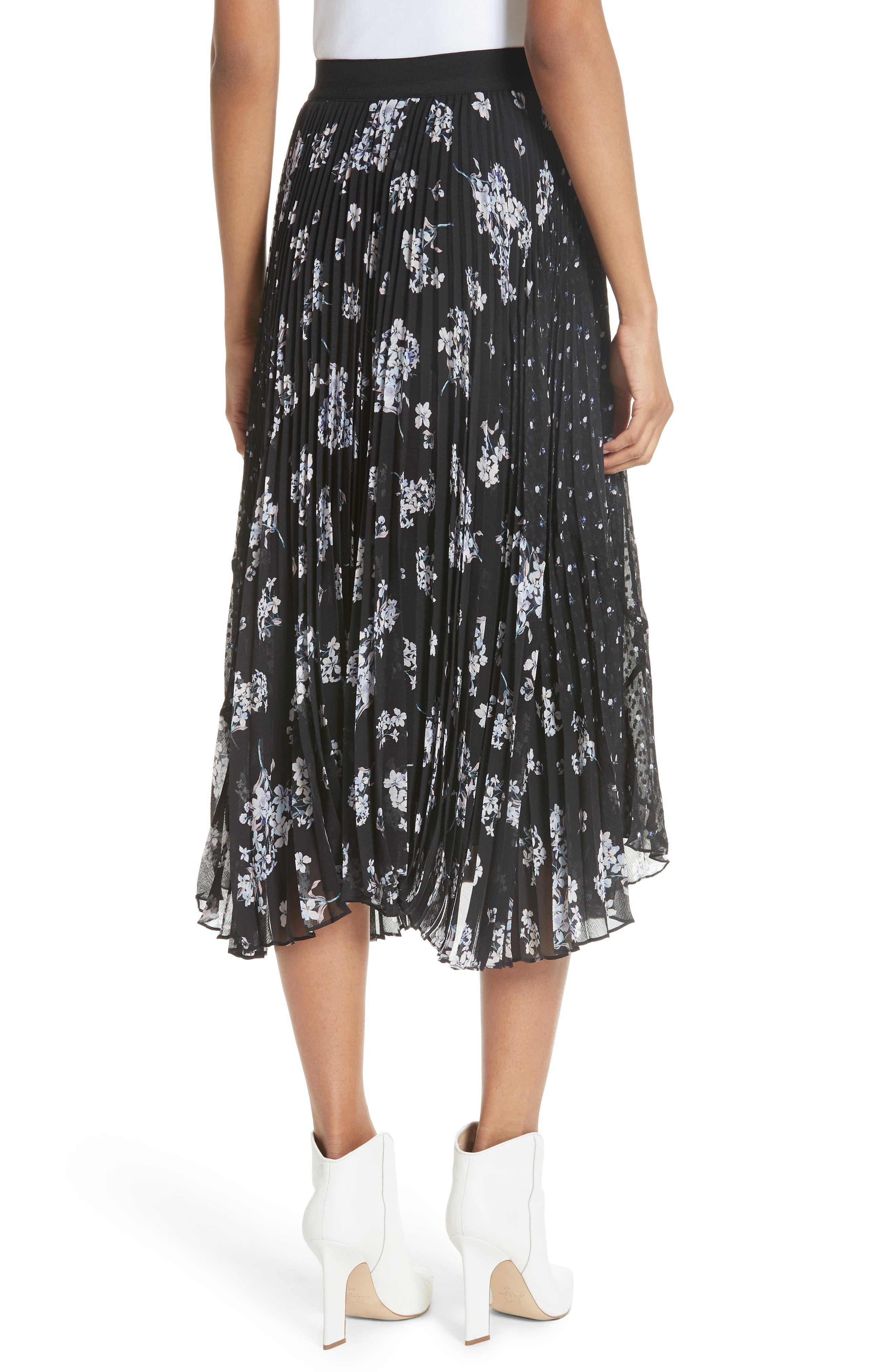 Pleated Hydrangea Skirt,                             Alternate thumbnail 2, color,                             BLACK COMBO