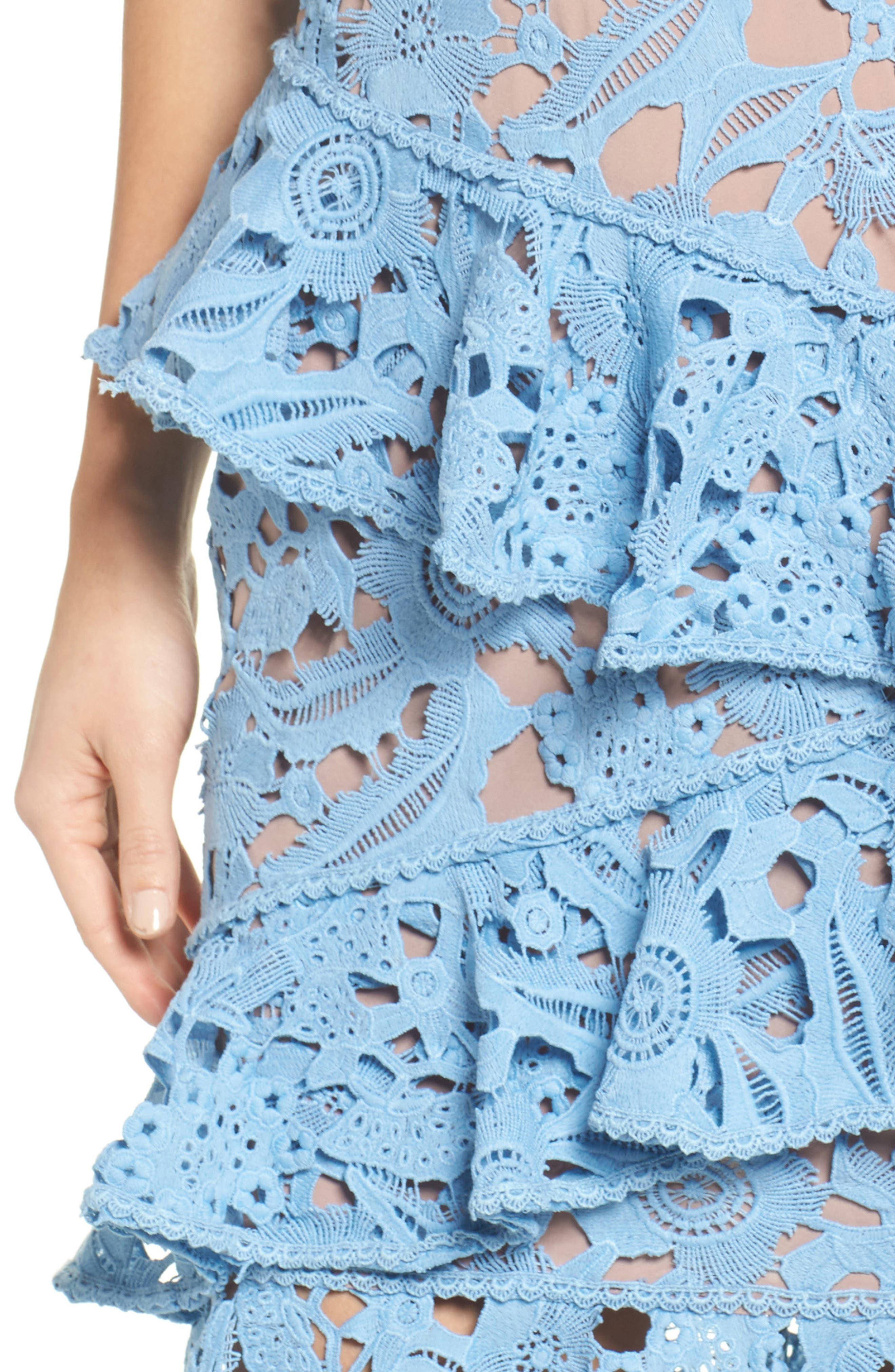 Lace Parfait Ruffle Dress,                             Alternate thumbnail 4, color,
