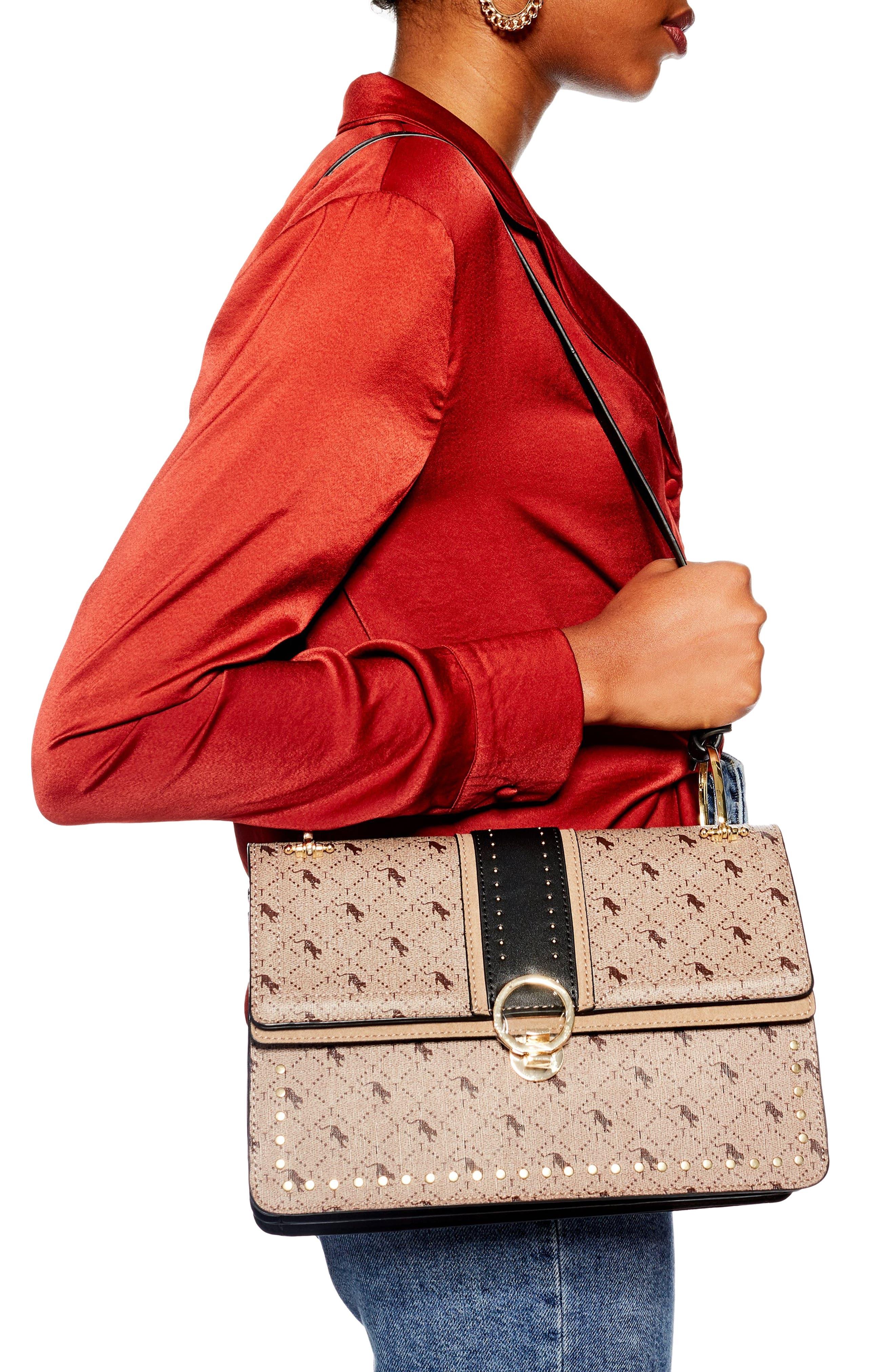 Madrid Studded Faux Leather Shoulder Bag,                             Alternate thumbnail 2, color,                             TAUPE MULTI