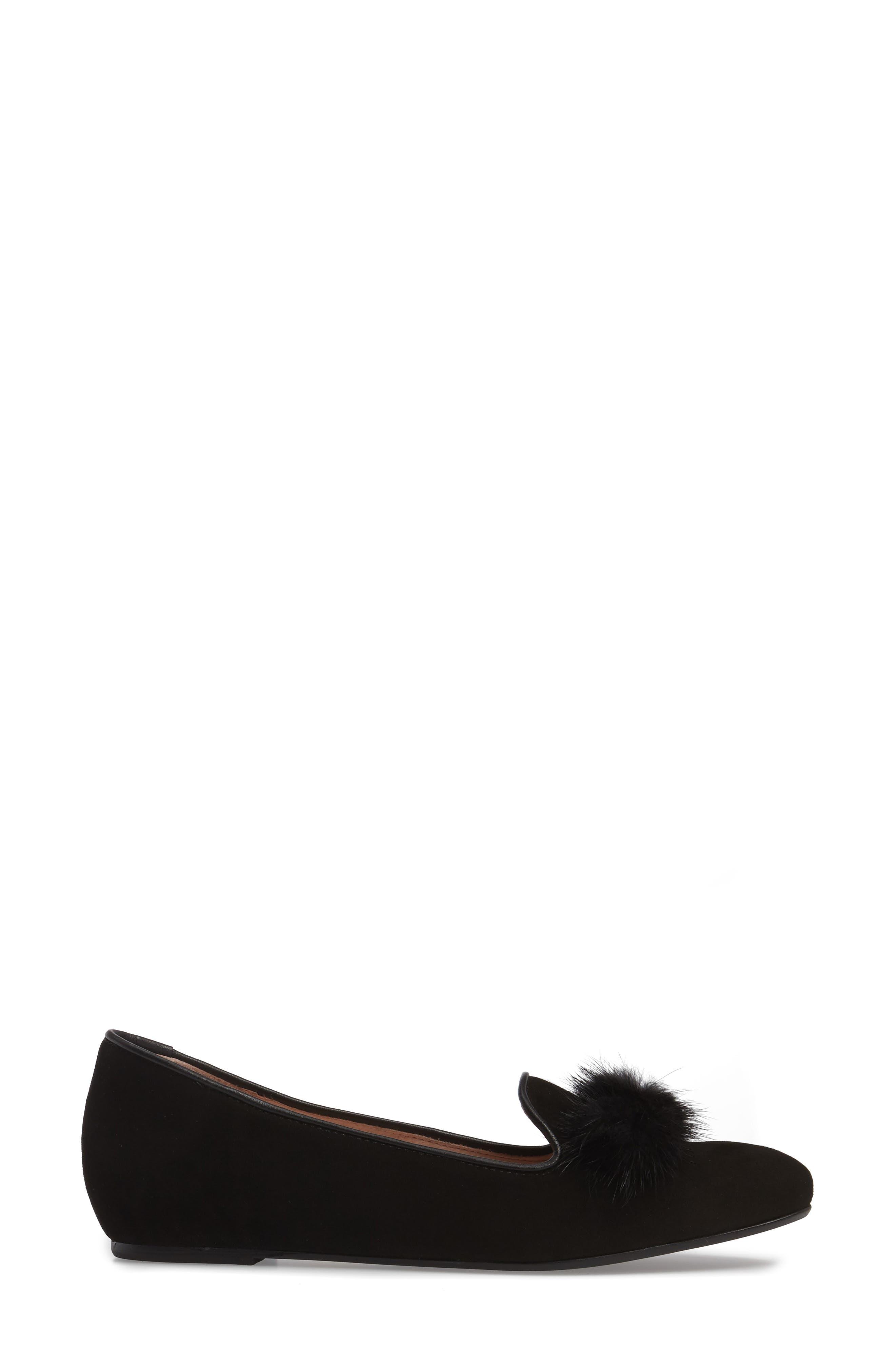 Wallis Genuine Fur Pompom Loafer,                             Alternate thumbnail 3, color,                             001