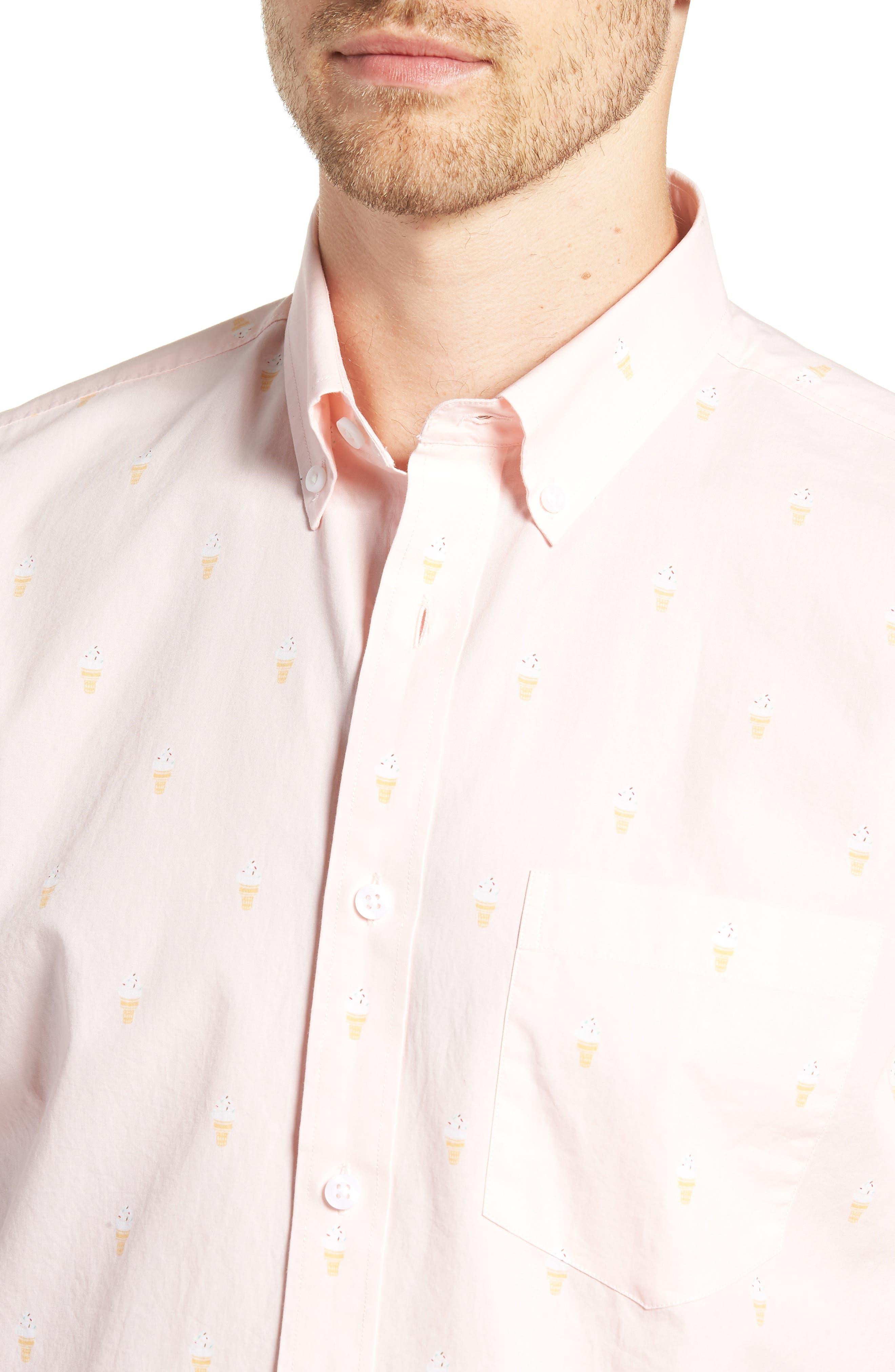 Trim Fit Print Short Sleeve Sport Shirt,                             Alternate thumbnail 4, color,                             680