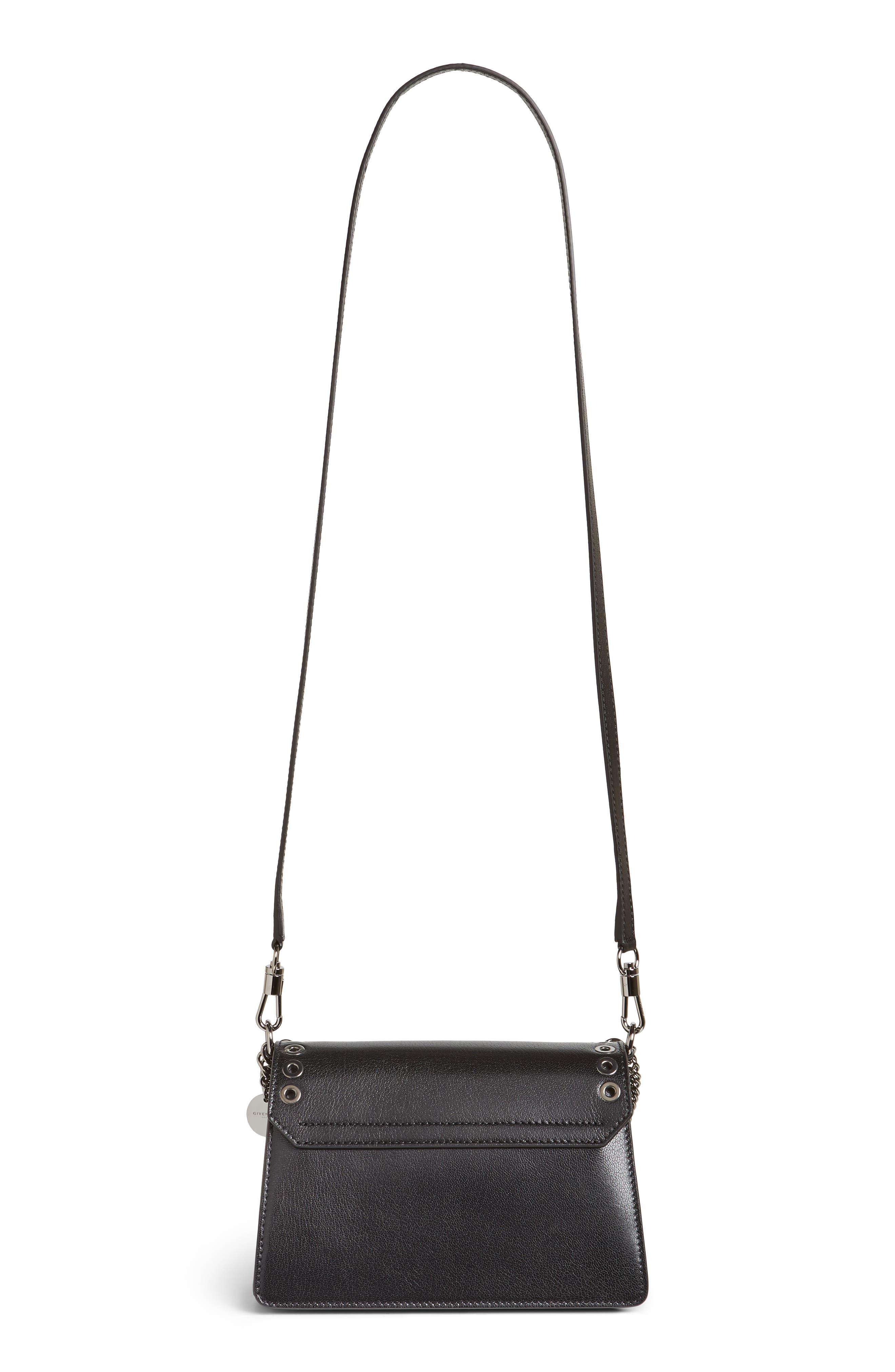 GIVENCHY,                             GV3 Eyelet and Rings Leather Shoulder Bag,                             Alternate thumbnail 3, color,                             BLACK