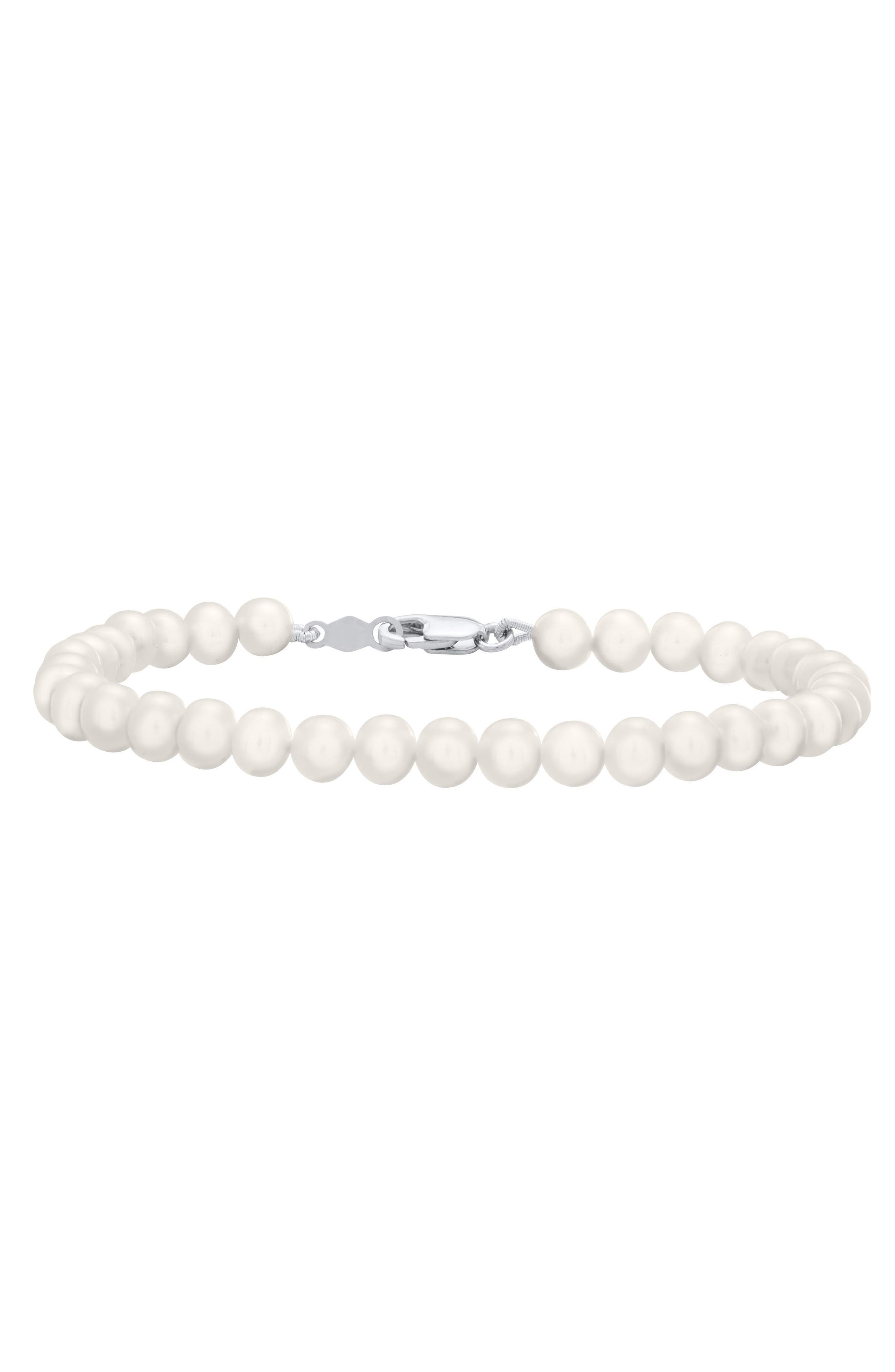 Sterling Silver & Cultured Pearl Bracelet,                             Main thumbnail 1, color,                             SILVER