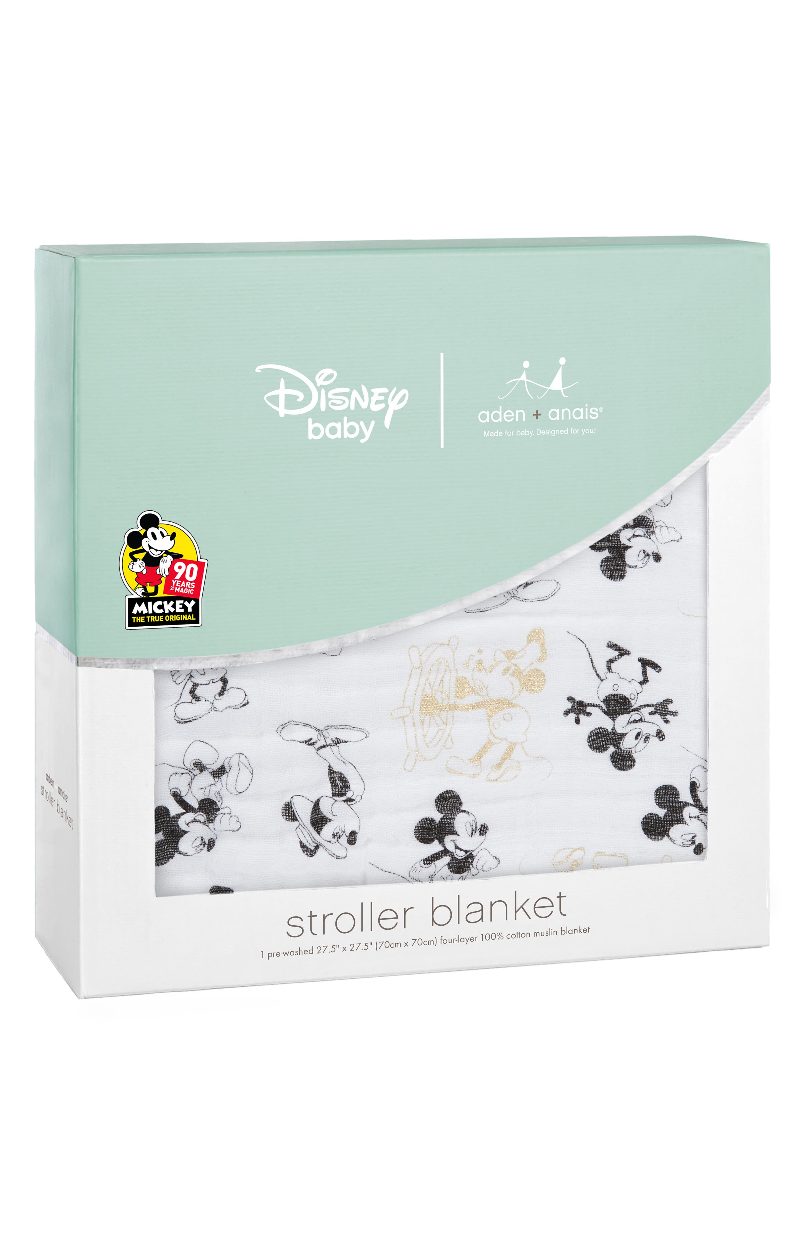 Disney<sup>®</sup> Mickey's 90th Muslin Stroller Blanket,                             Alternate thumbnail 2, color,                             BLACK AND GOLD