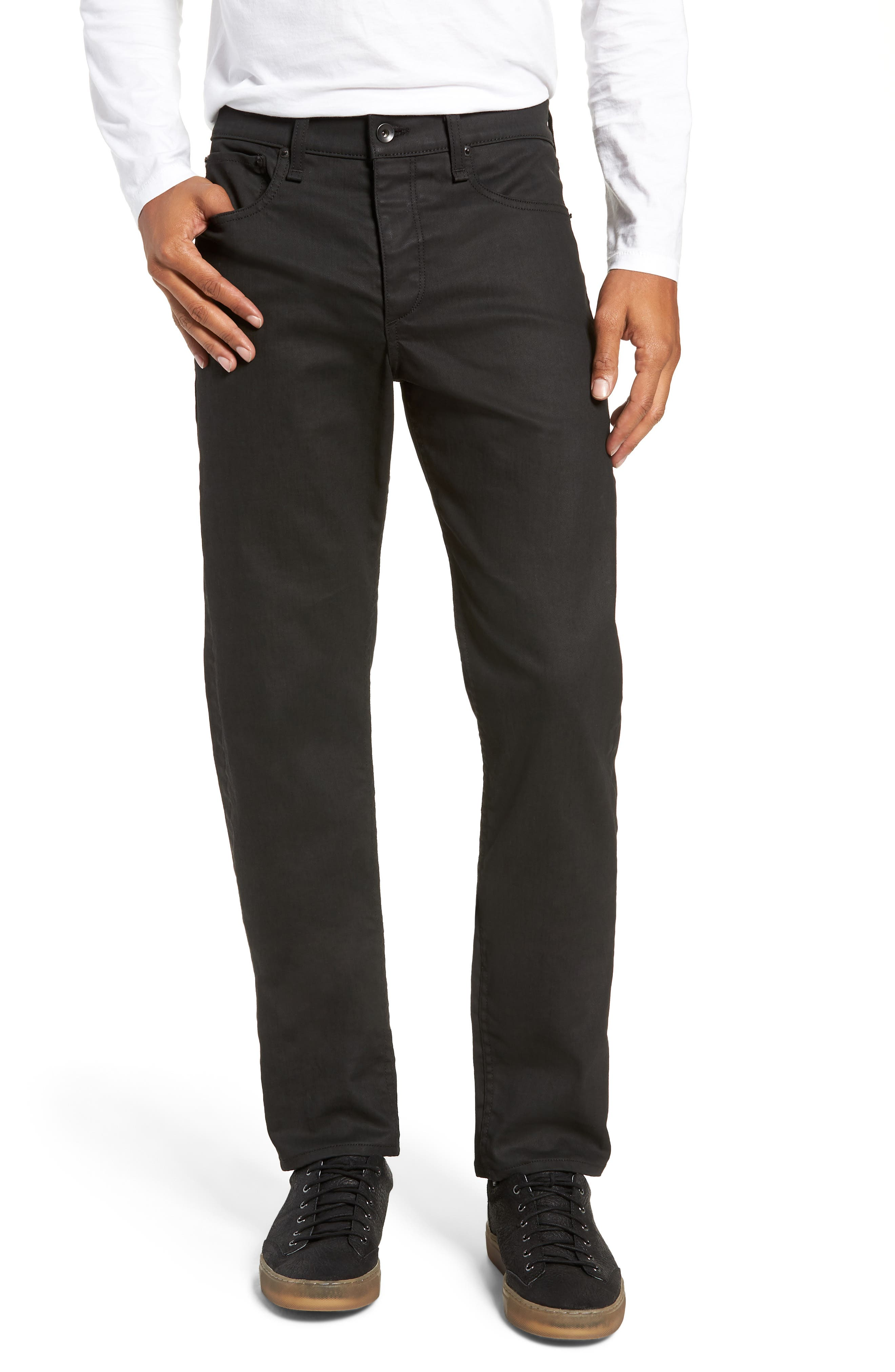Fit 2 Slim Fit Twill Pants,                         Main,                         color, COATED BLACK