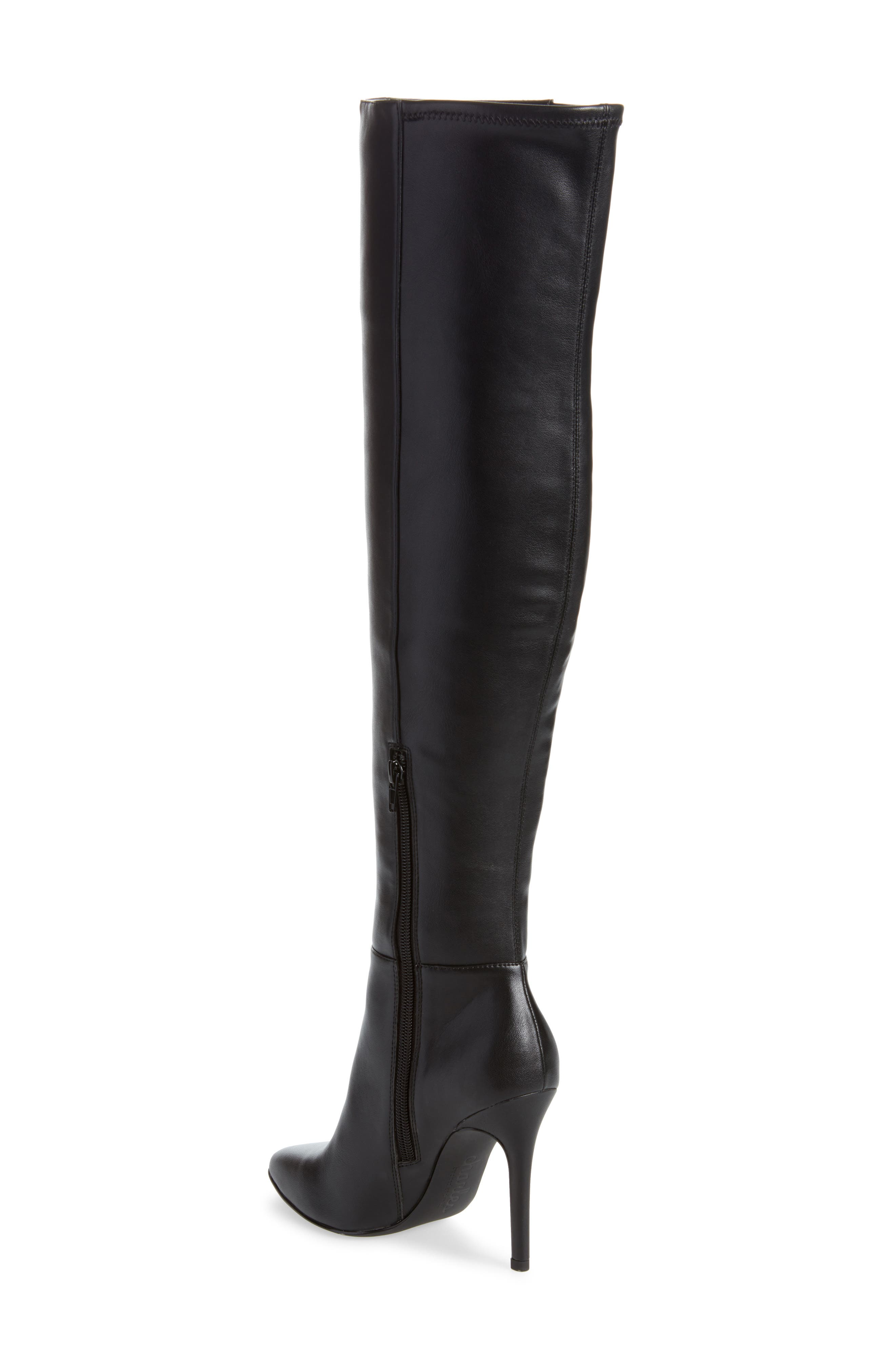 Debutante Thigh High Boot,                             Alternate thumbnail 2, color,                             BLACK FAUX LEATHER