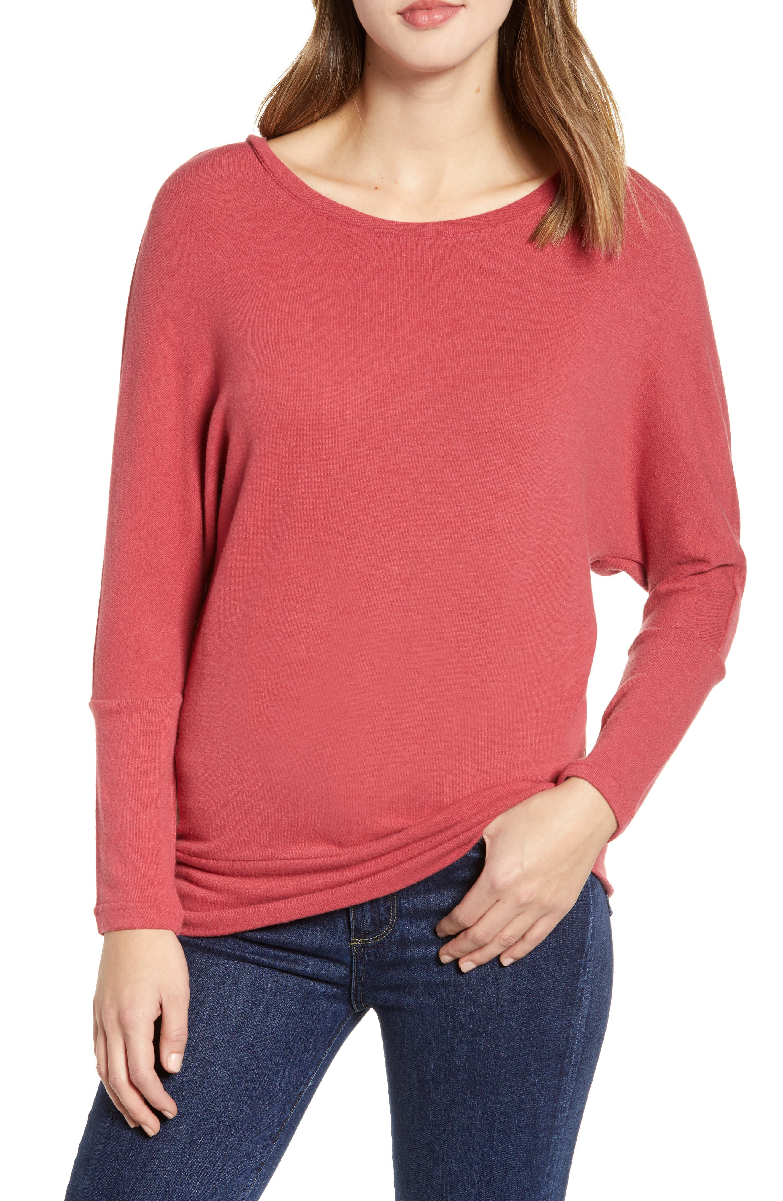 CUPCAKES AND CASHMERE Ivery Crewneck Long-Sleeve Sweatshirt in Earth Red