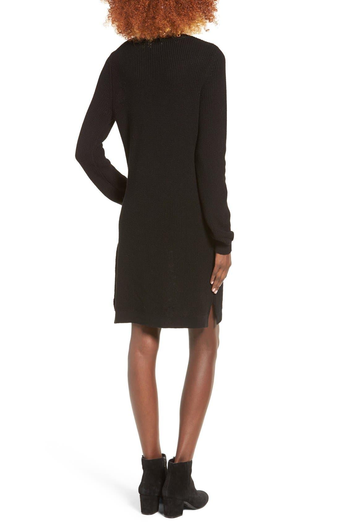 BP.,                             Shaker Stitch Sweater Dress,                             Alternate thumbnail 2, color,                             001