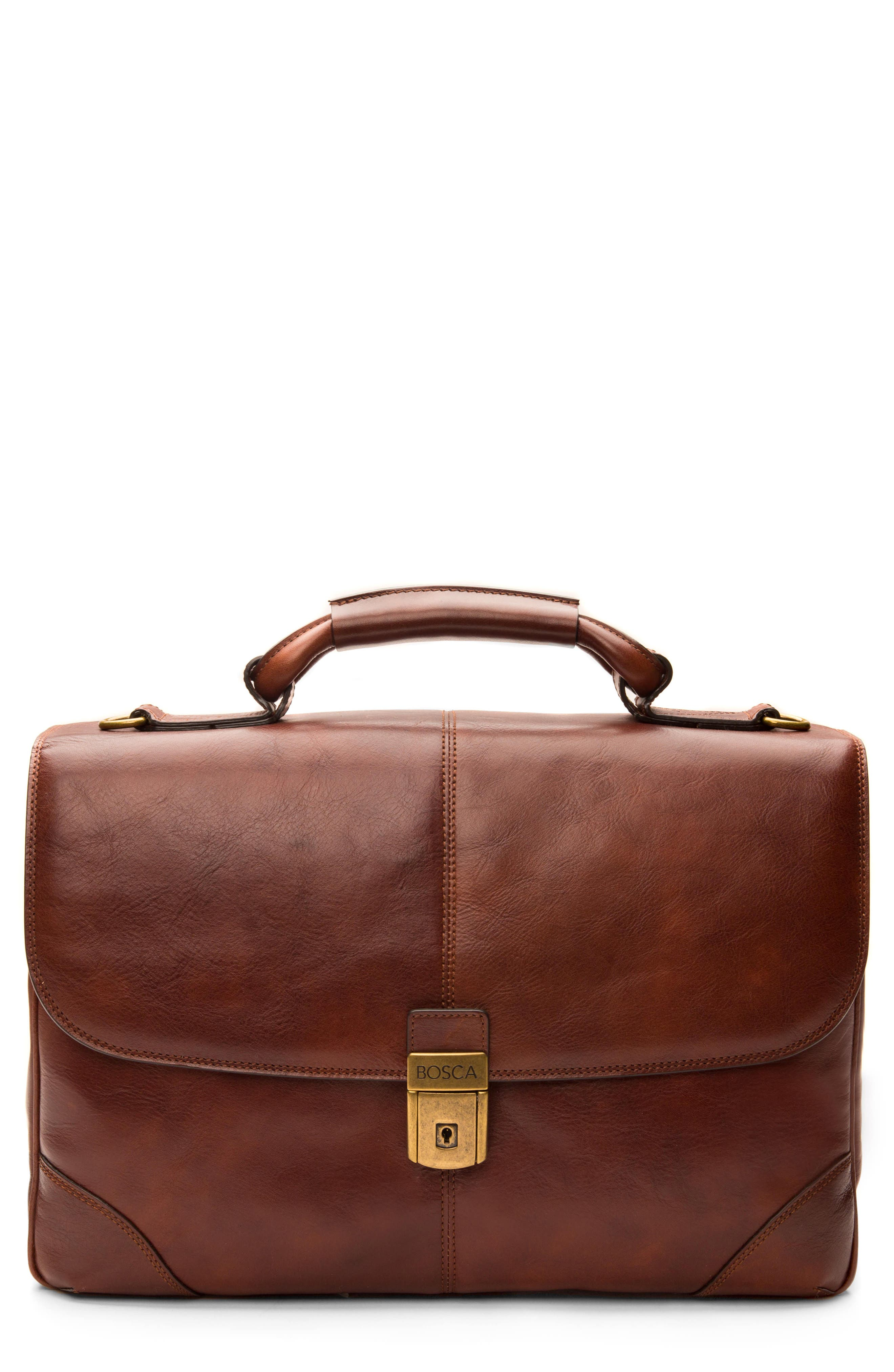 Leather Briefcase,                             Main thumbnail 1, color,                             200