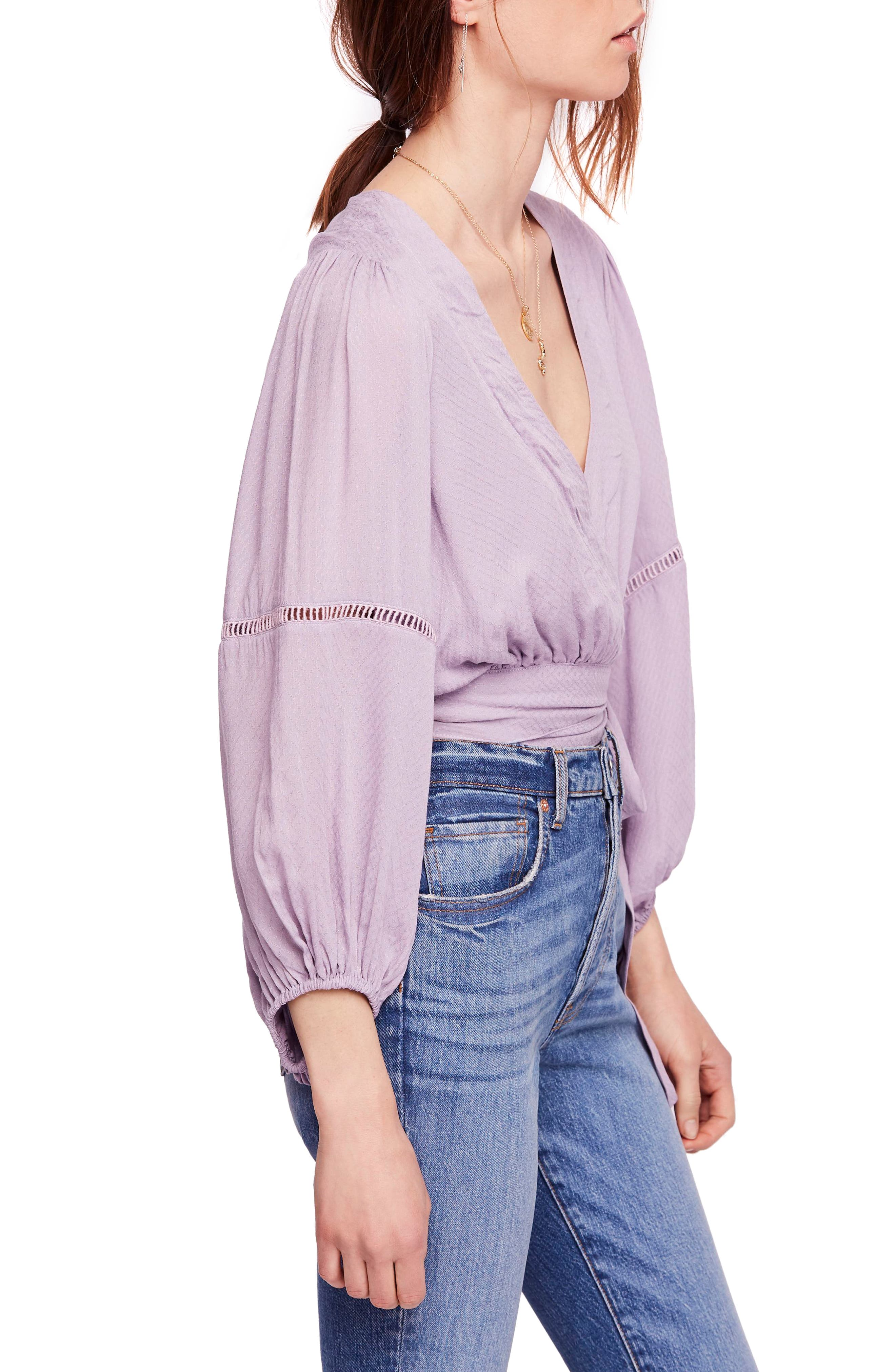 Dream Girl Wrap Top,                             Alternate thumbnail 3, color,                             LAVENDER