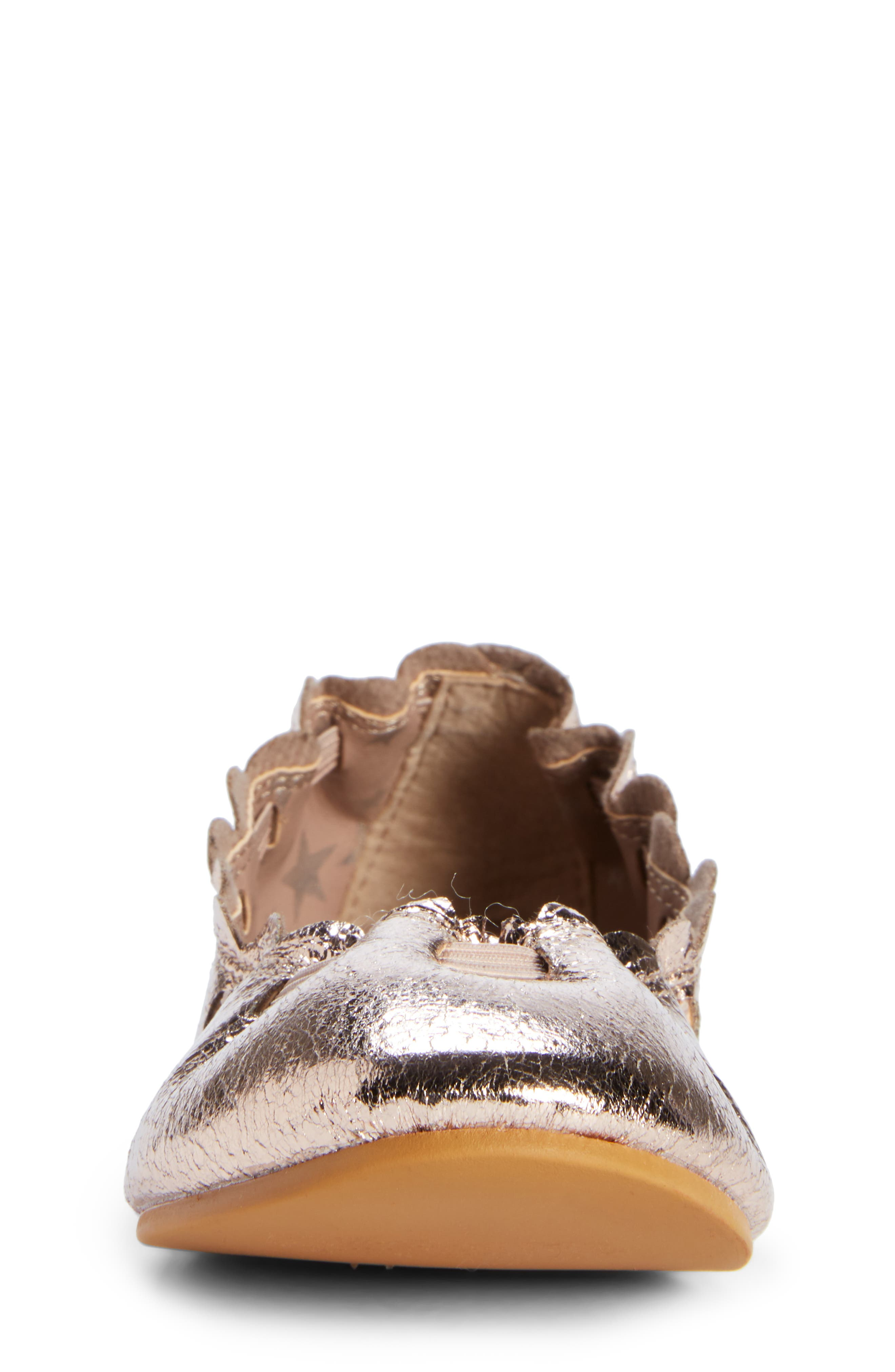 Scalloped Ballet Flat,                             Alternate thumbnail 4, color,                             ROSE GOLD CRACKLE FAUX LEATHER