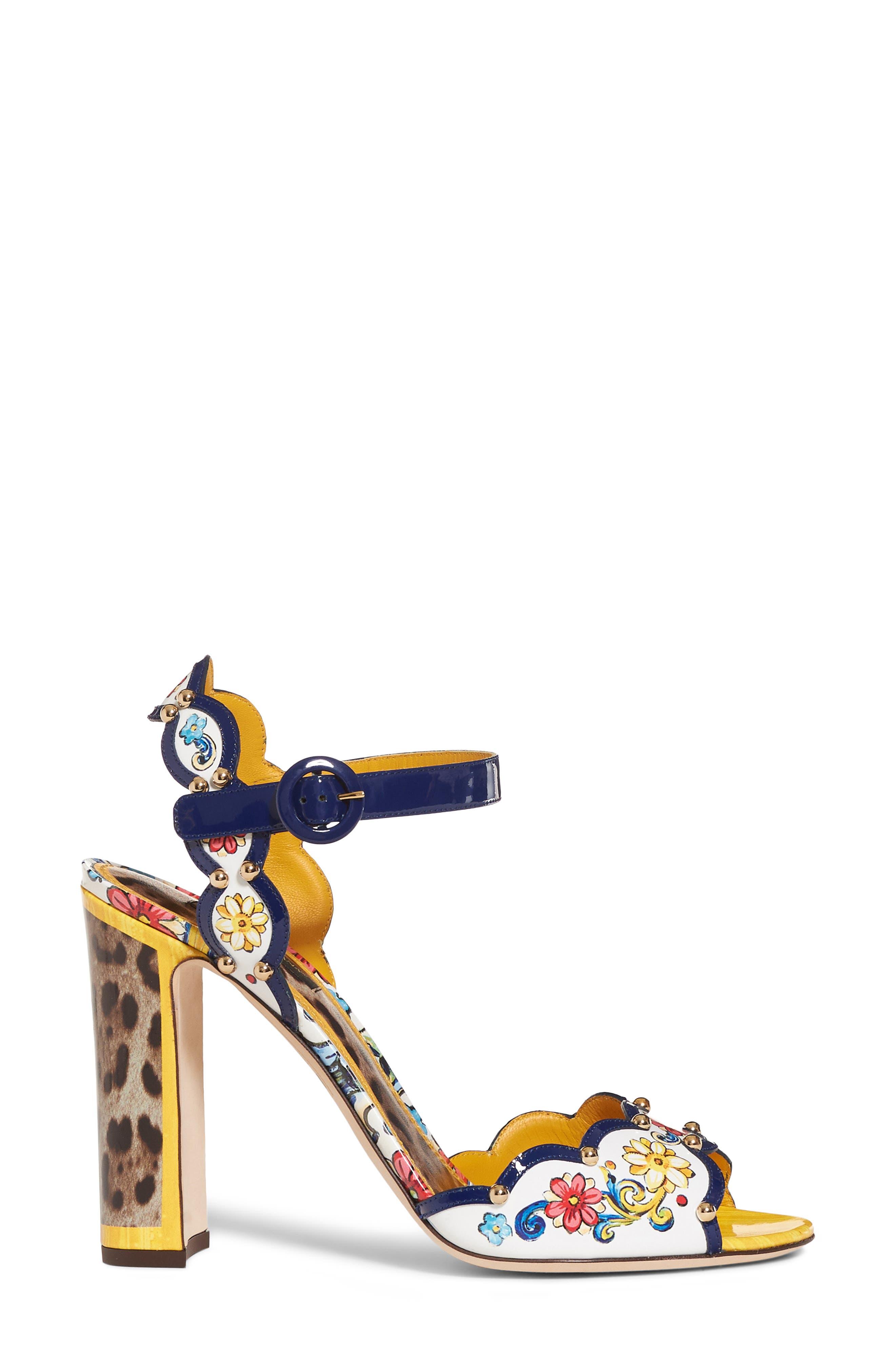 Keira Majolica & Leopard Print Sandal,                             Alternate thumbnail 3, color,
