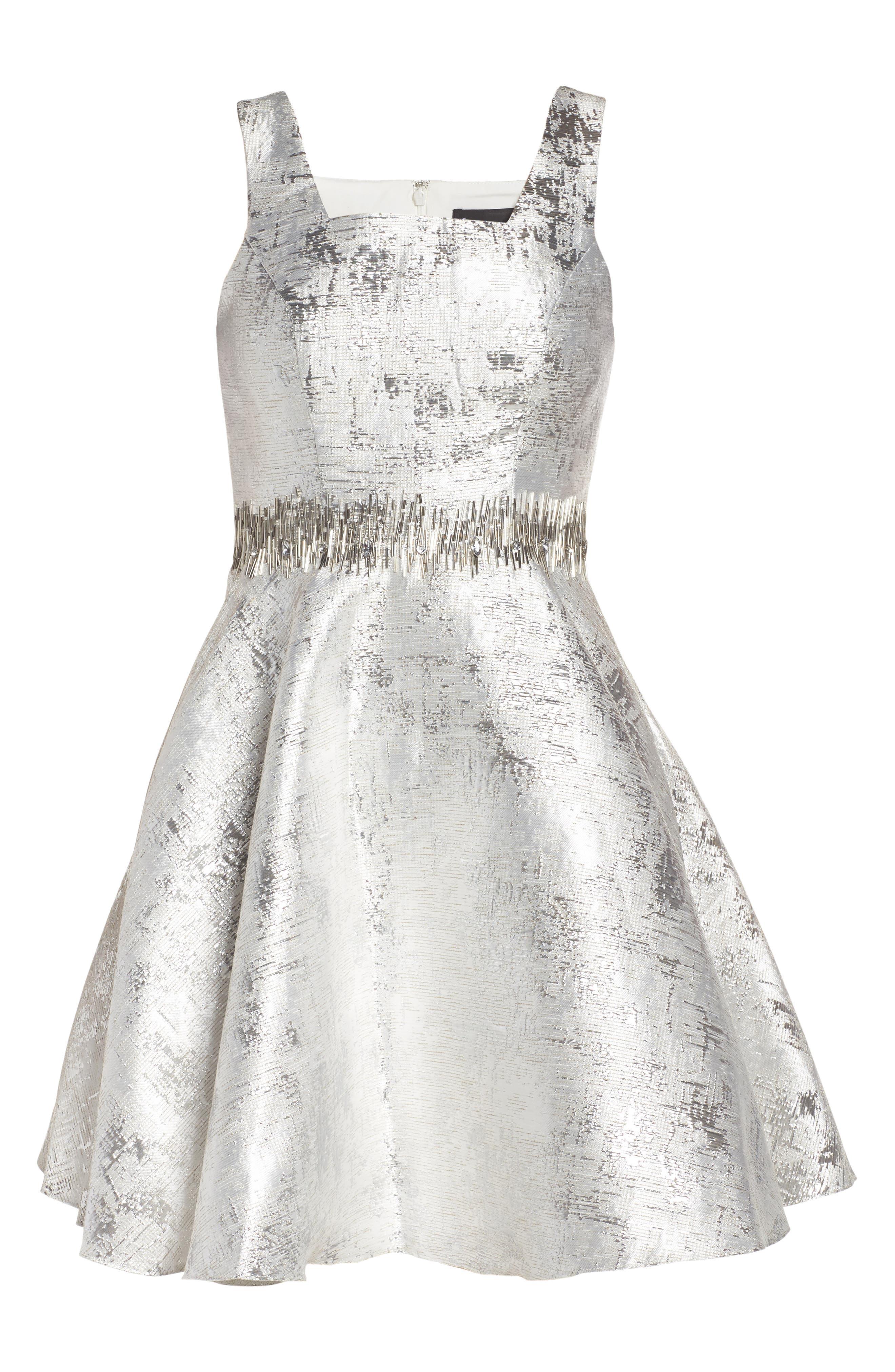 Embellished Metallic Fit & Flare Dress,                             Alternate thumbnail 6, color,                             044
