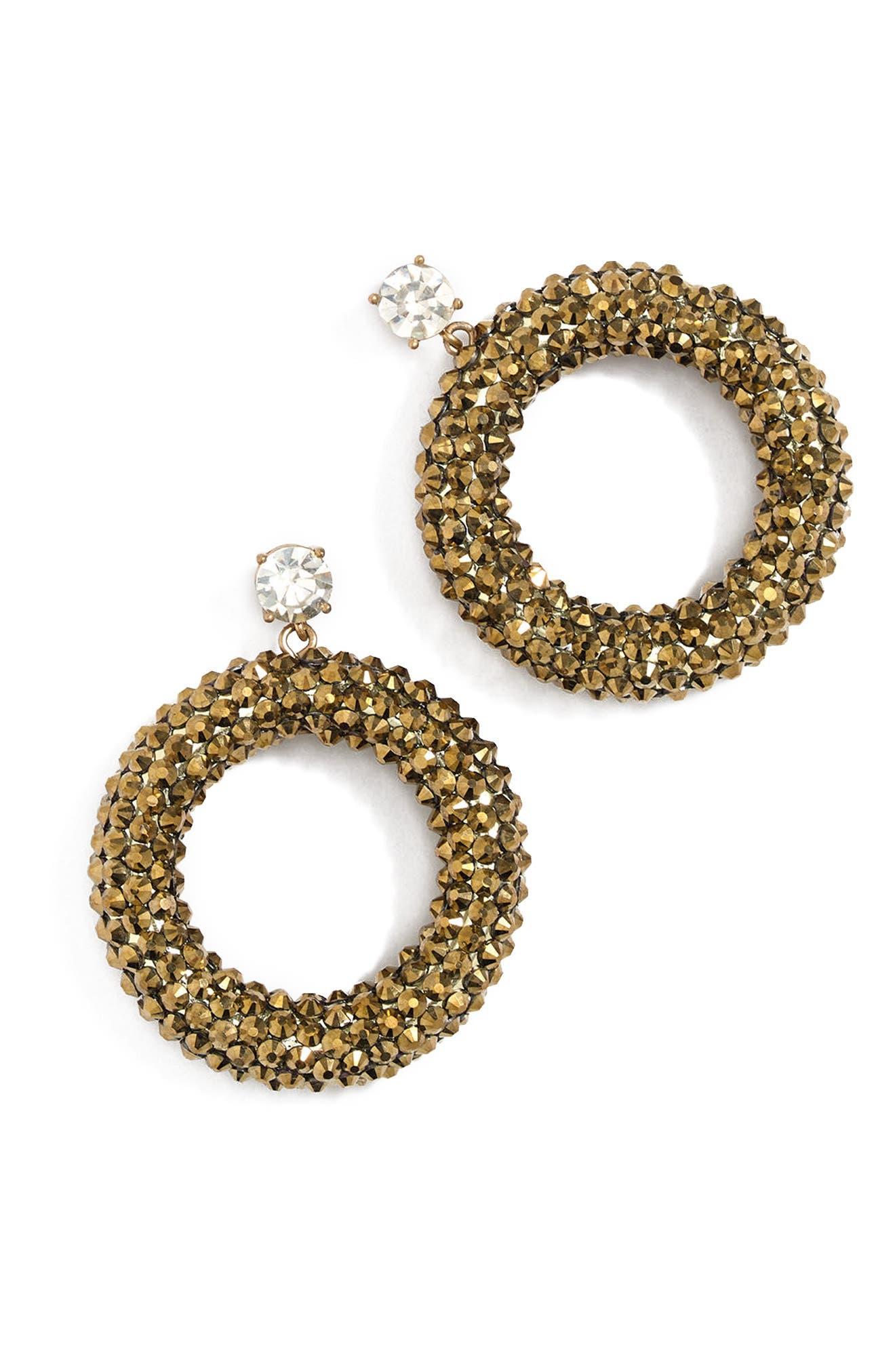 Sparkle Drop Hoop Earrings,                         Main,                         color, 040