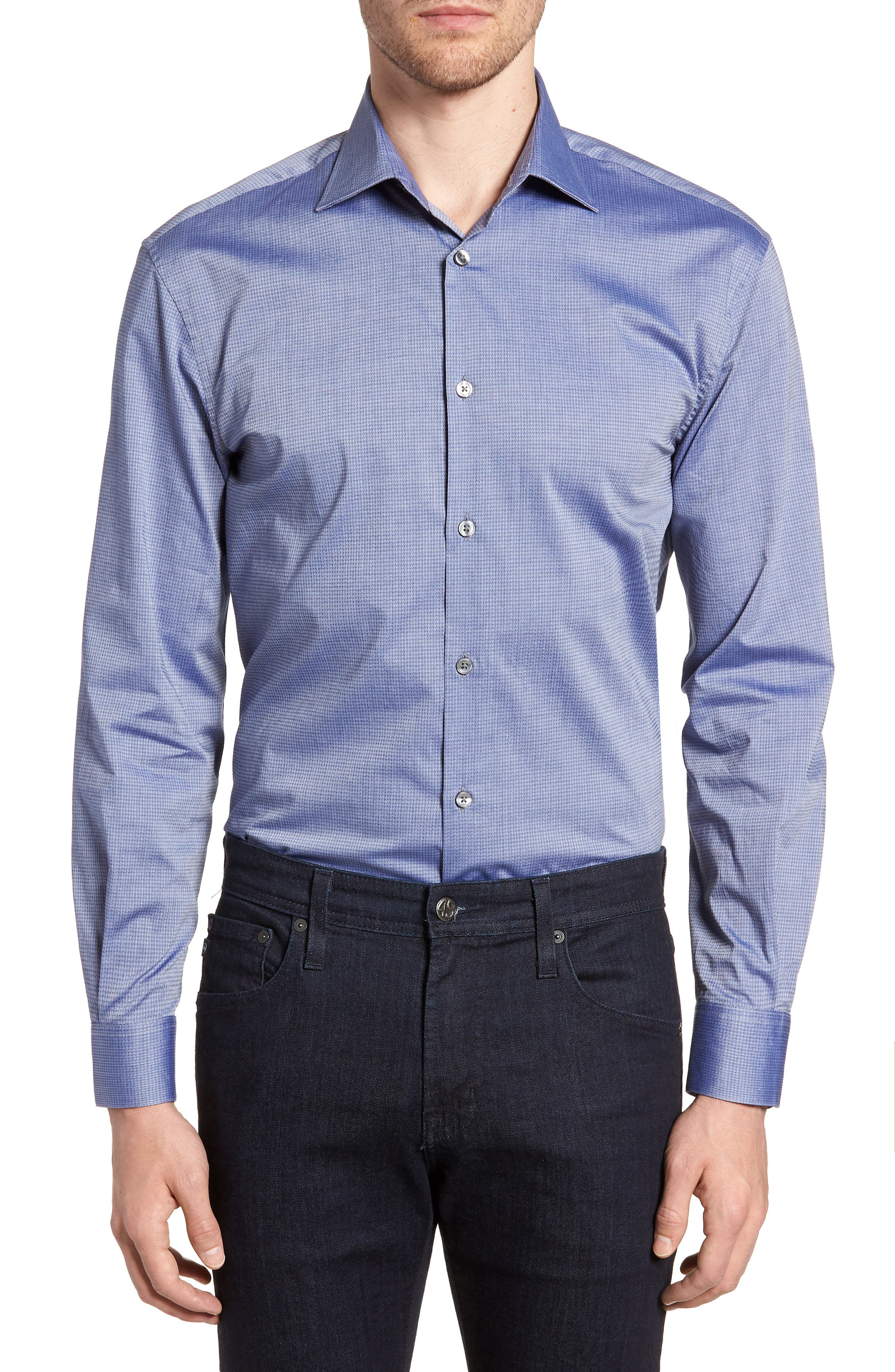 Regular Fit Stretch Print Dress Shirt,                             Main thumbnail 1, color,                             DEEP BLUE