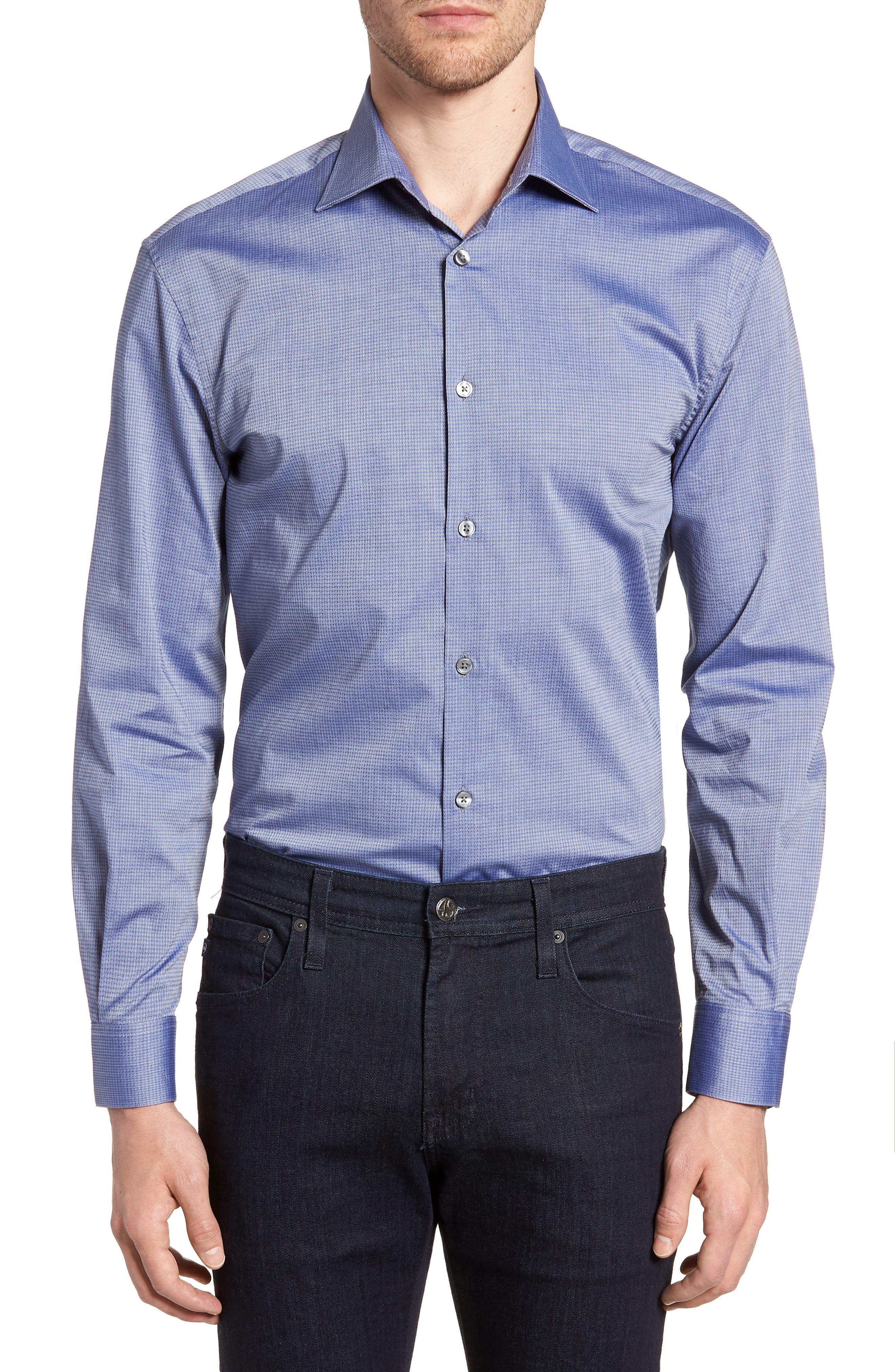 Regular Fit Stretch Print Dress Shirt,                         Main,                         color, DEEP BLUE