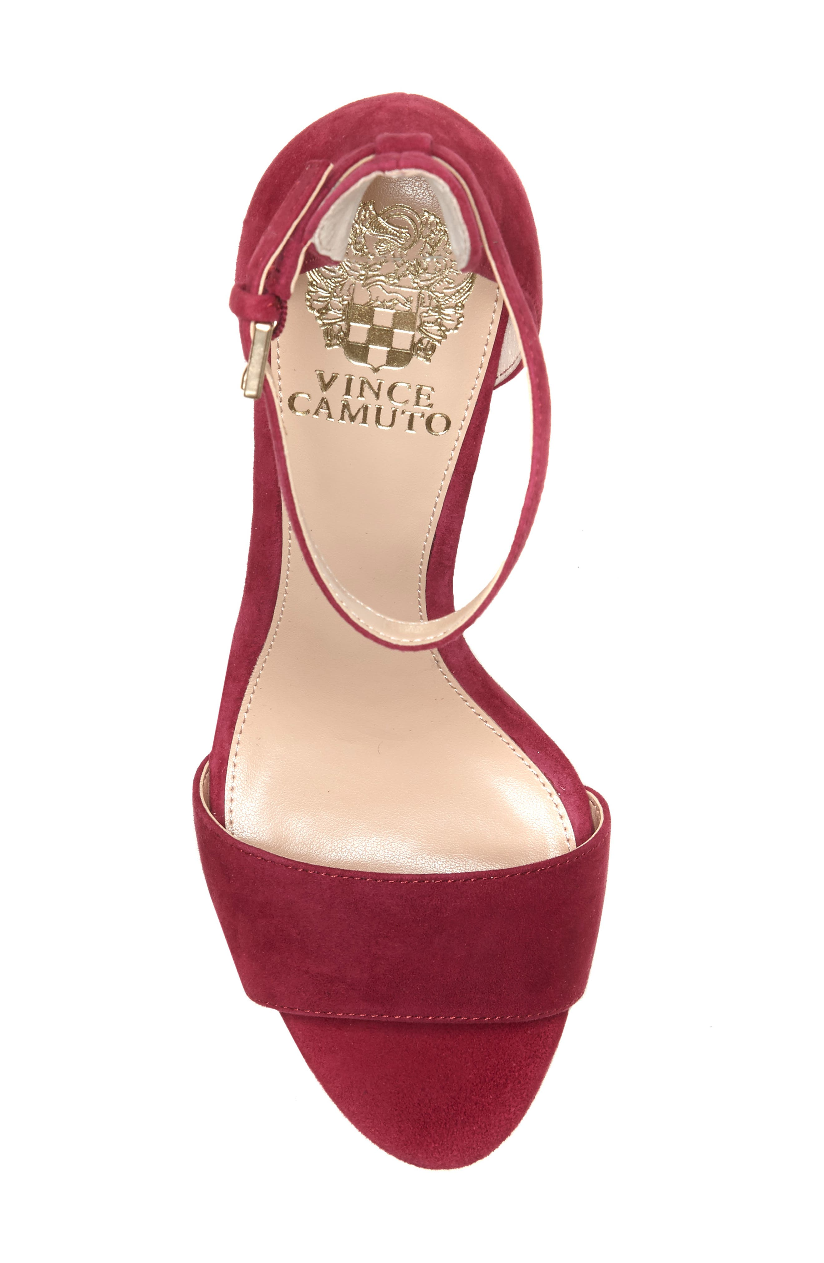 Corlina Ankle Strap Sandal,                             Alternate thumbnail 5, color,                             SWEET BERRY SUEDE