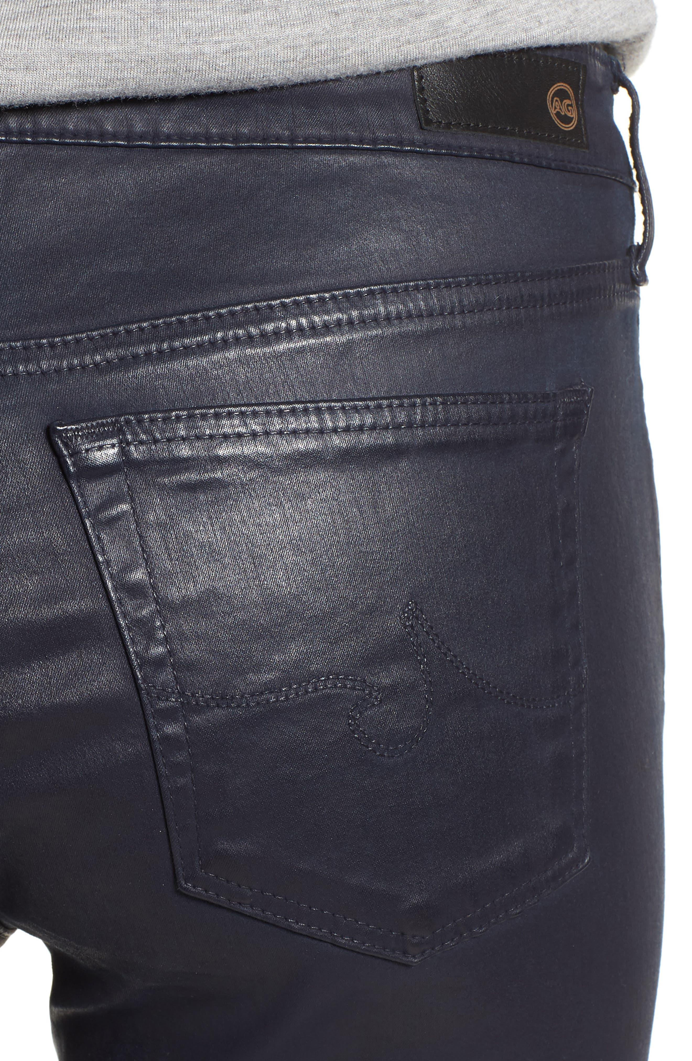'The Legging' Coated Ankle Jeans,                             Alternate thumbnail 4, color,                             LEATHERETT BLUE VAULT