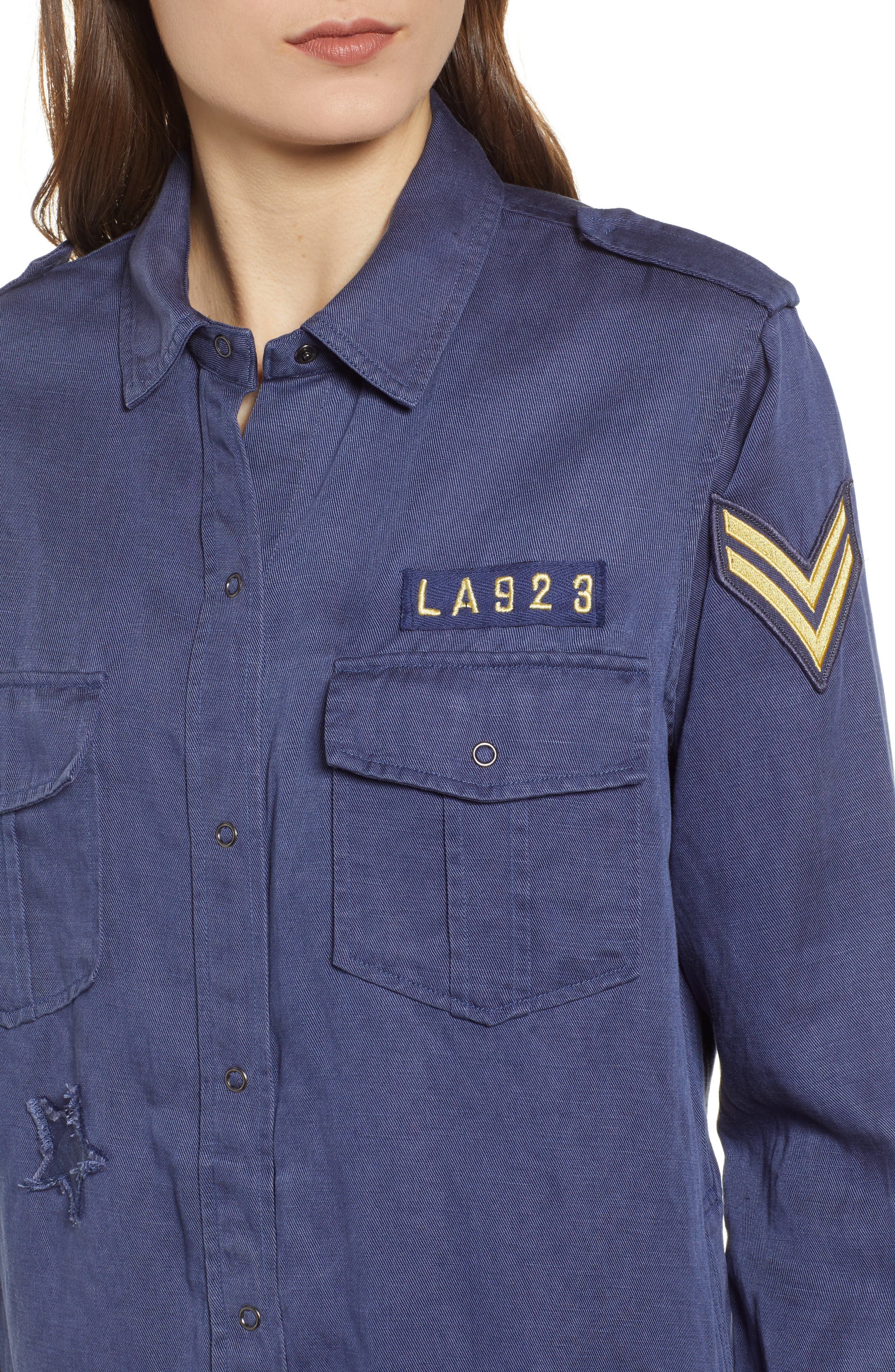 Kato Military Shirt,                             Alternate thumbnail 4, color,                             TOKYO BLUE
