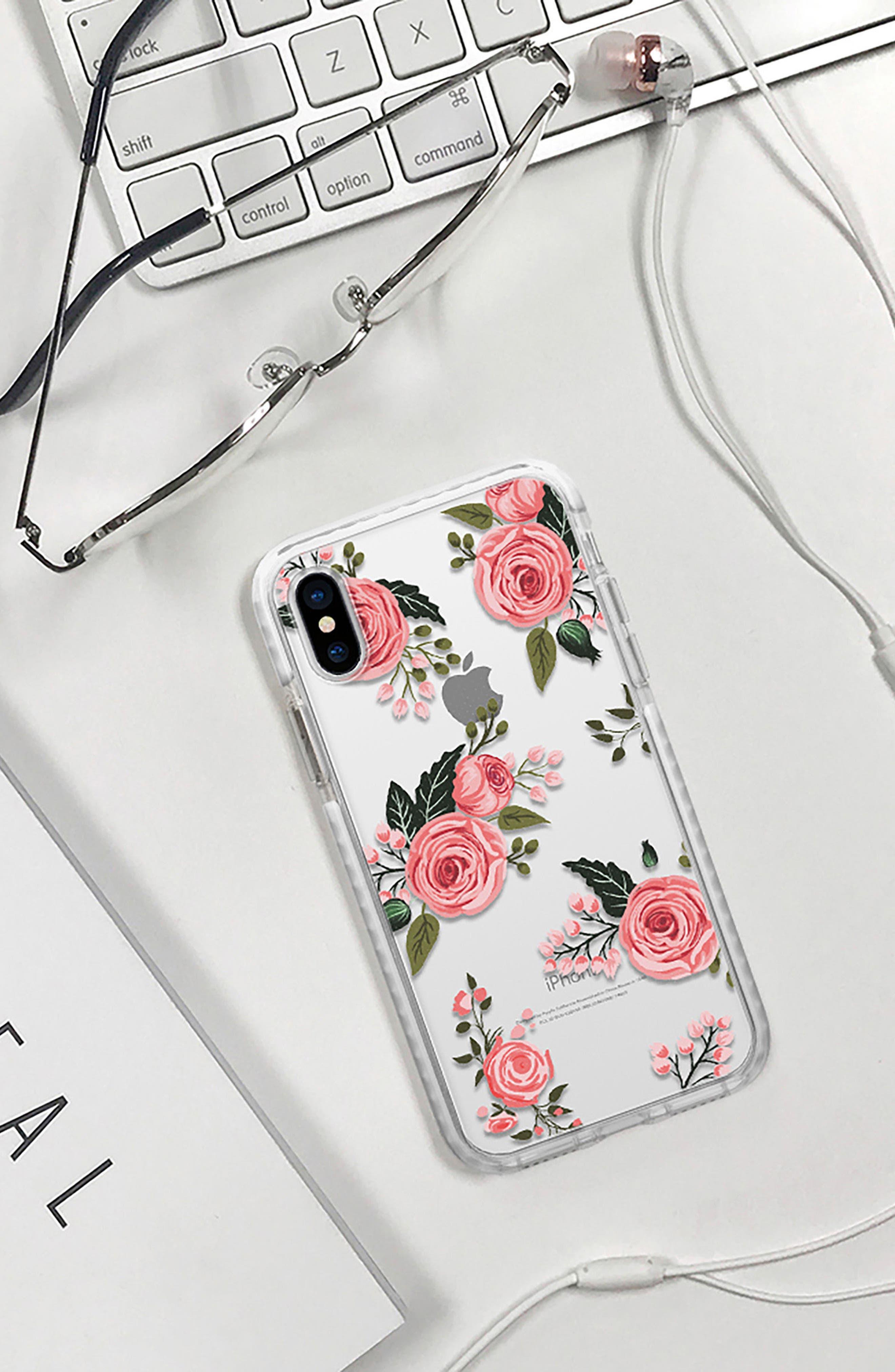 Pink Floral Impact iPhone X/Xs Case,                             Alternate thumbnail 6, color,                             650