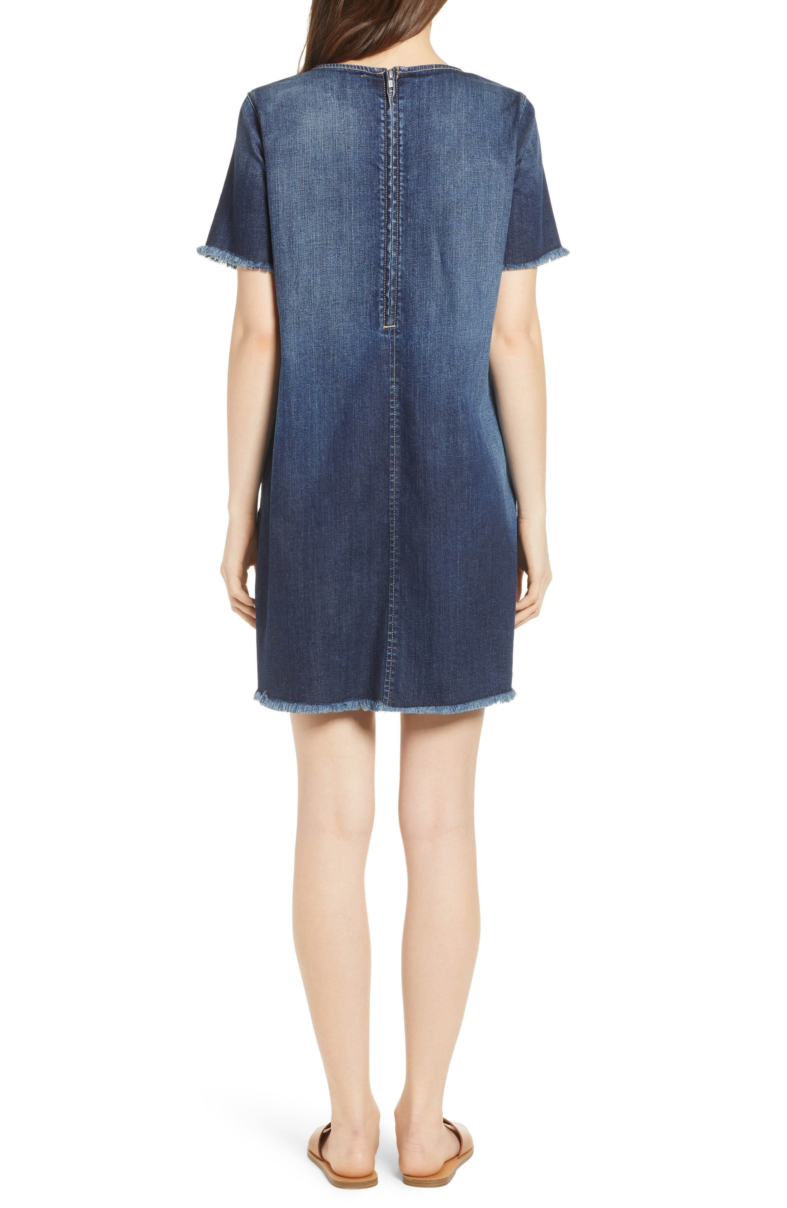 The Frayed Edge Denim Shift Dress,                             Alternate thumbnail 2, color,                             486