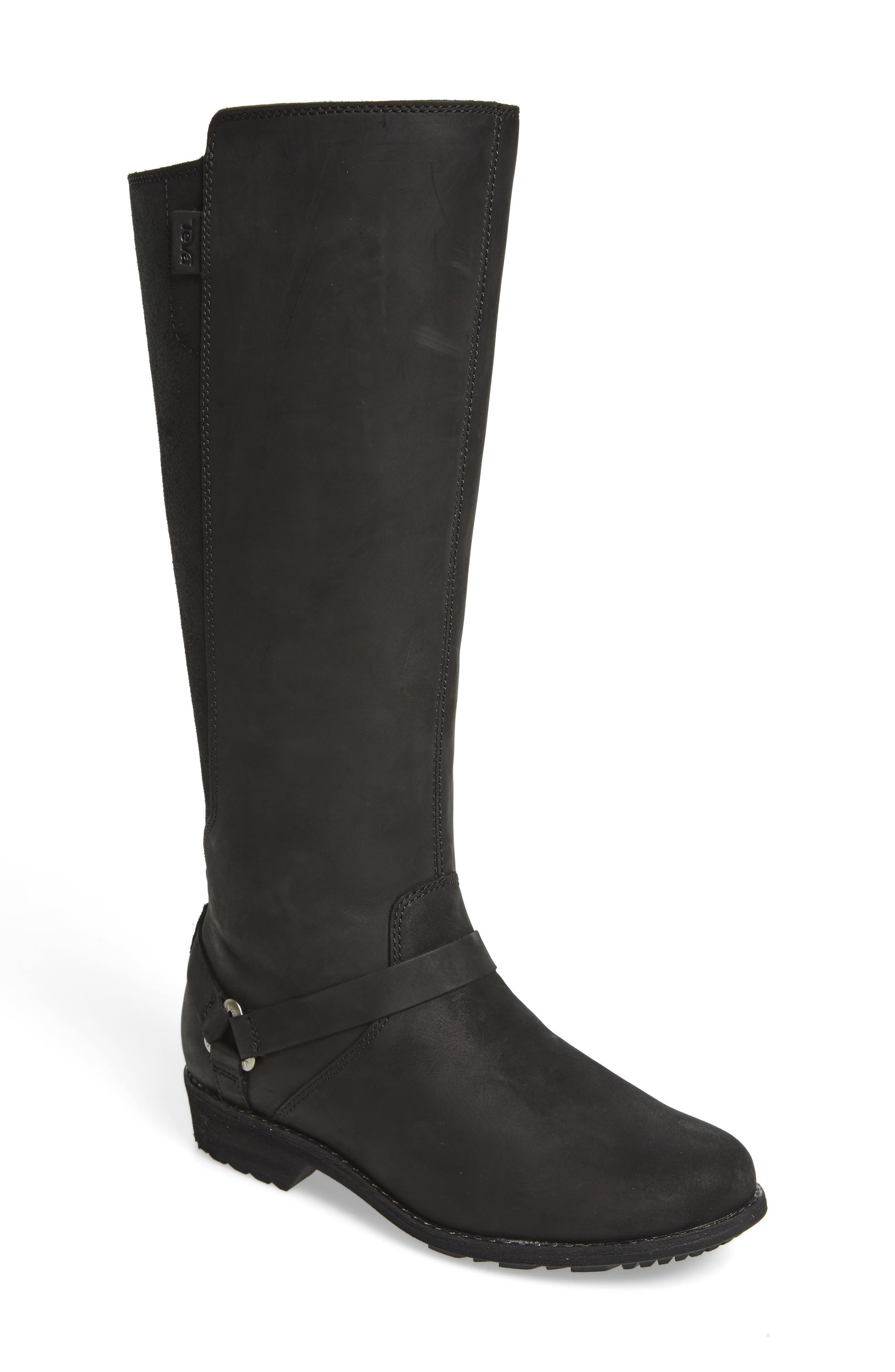 De La Vina Waterproof Boot,                         Main,                         color, BLACK LEATHER