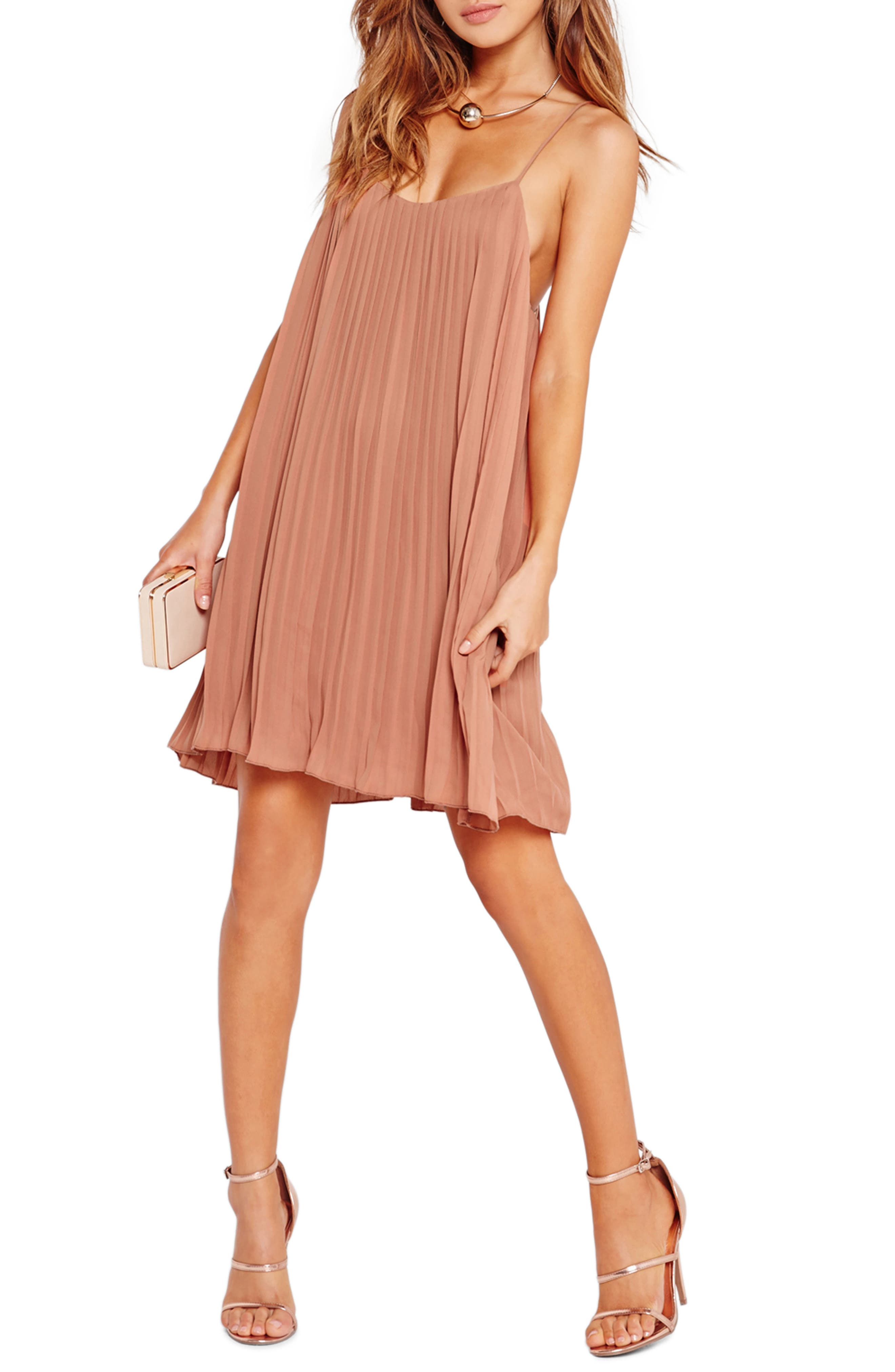 Pleated Swing Dress,                             Alternate thumbnail 3, color,