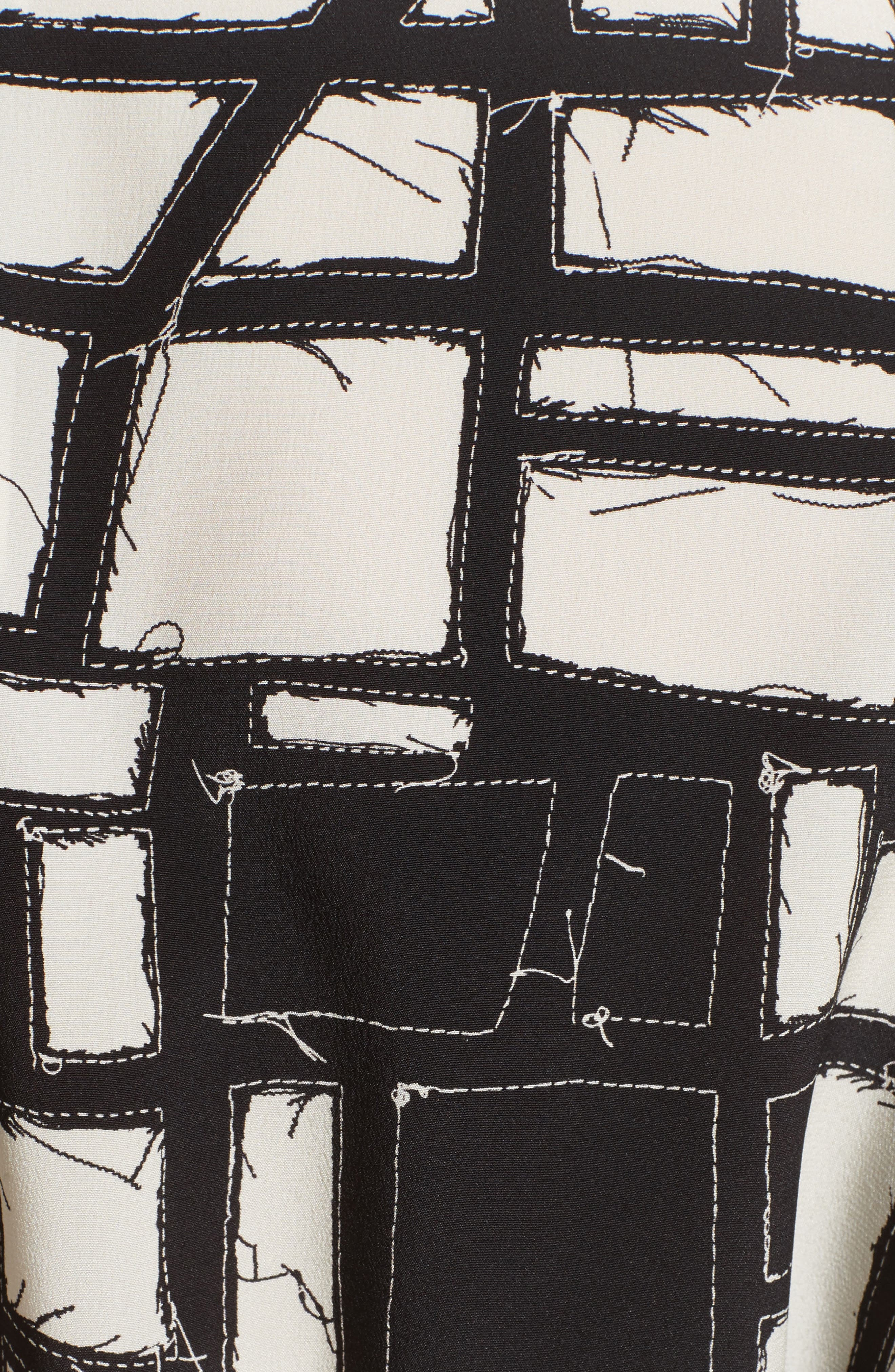 Aligi Print Silk Dress,                             Alternate thumbnail 5, color,