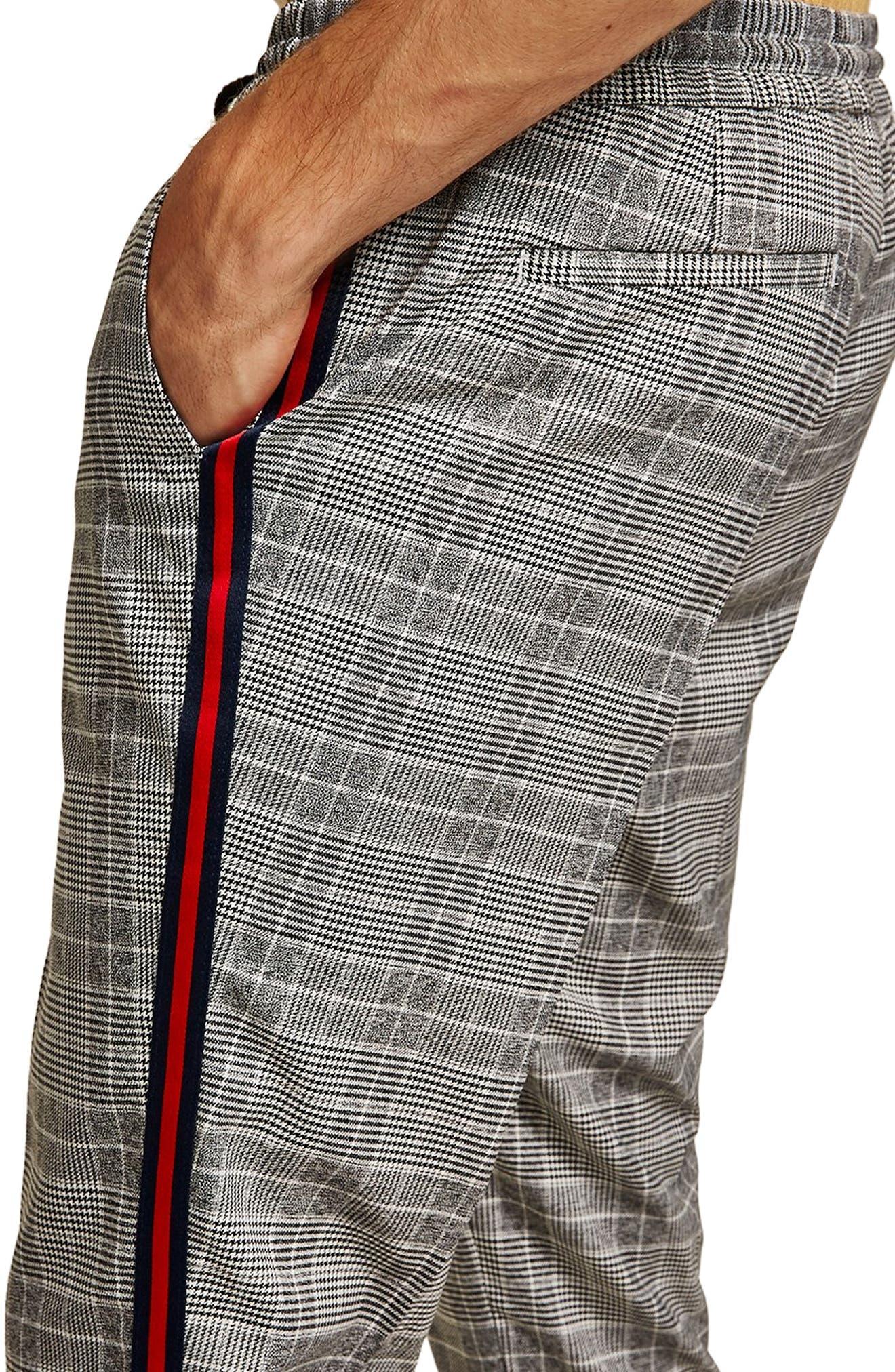 Check Side Stripe Slim Fit Joggers,                             Alternate thumbnail 3, color,                             020