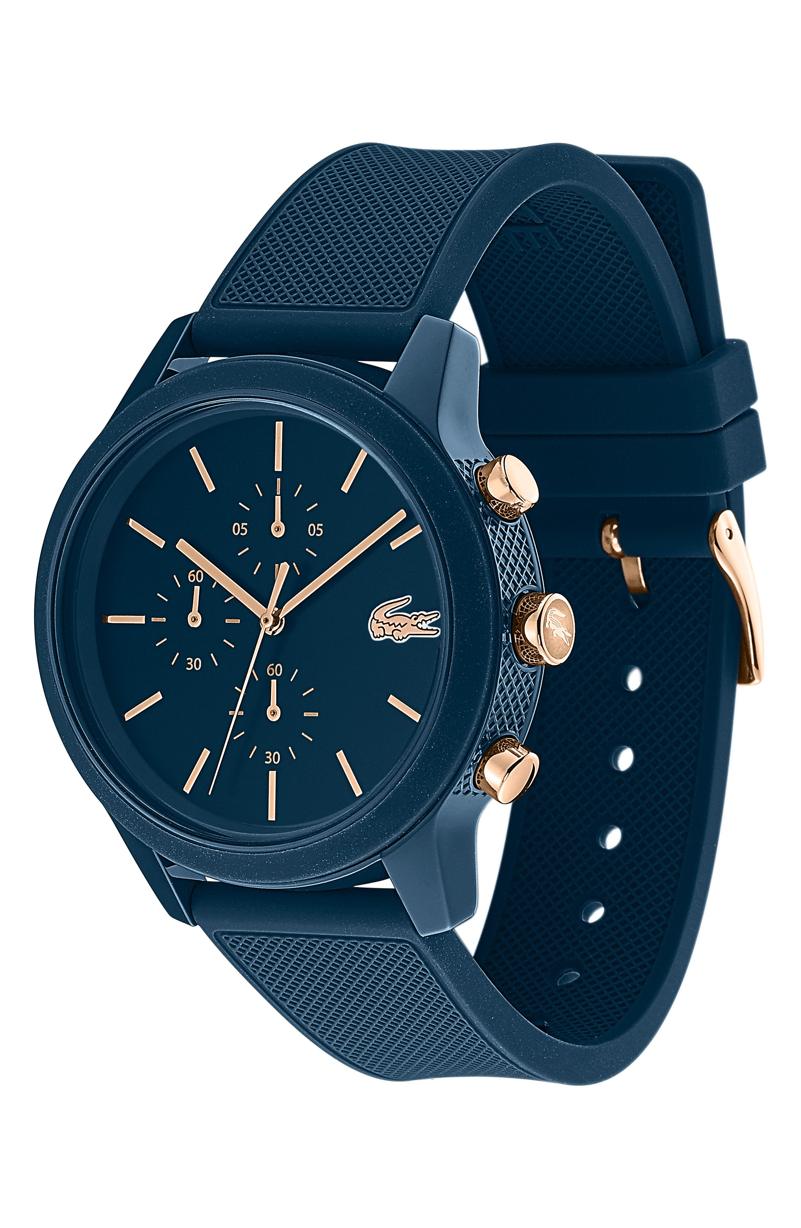 12.12 Chronograph Silicone Strap Watch, 44mm,                             Alternate thumbnail 3, color,                             BLUE