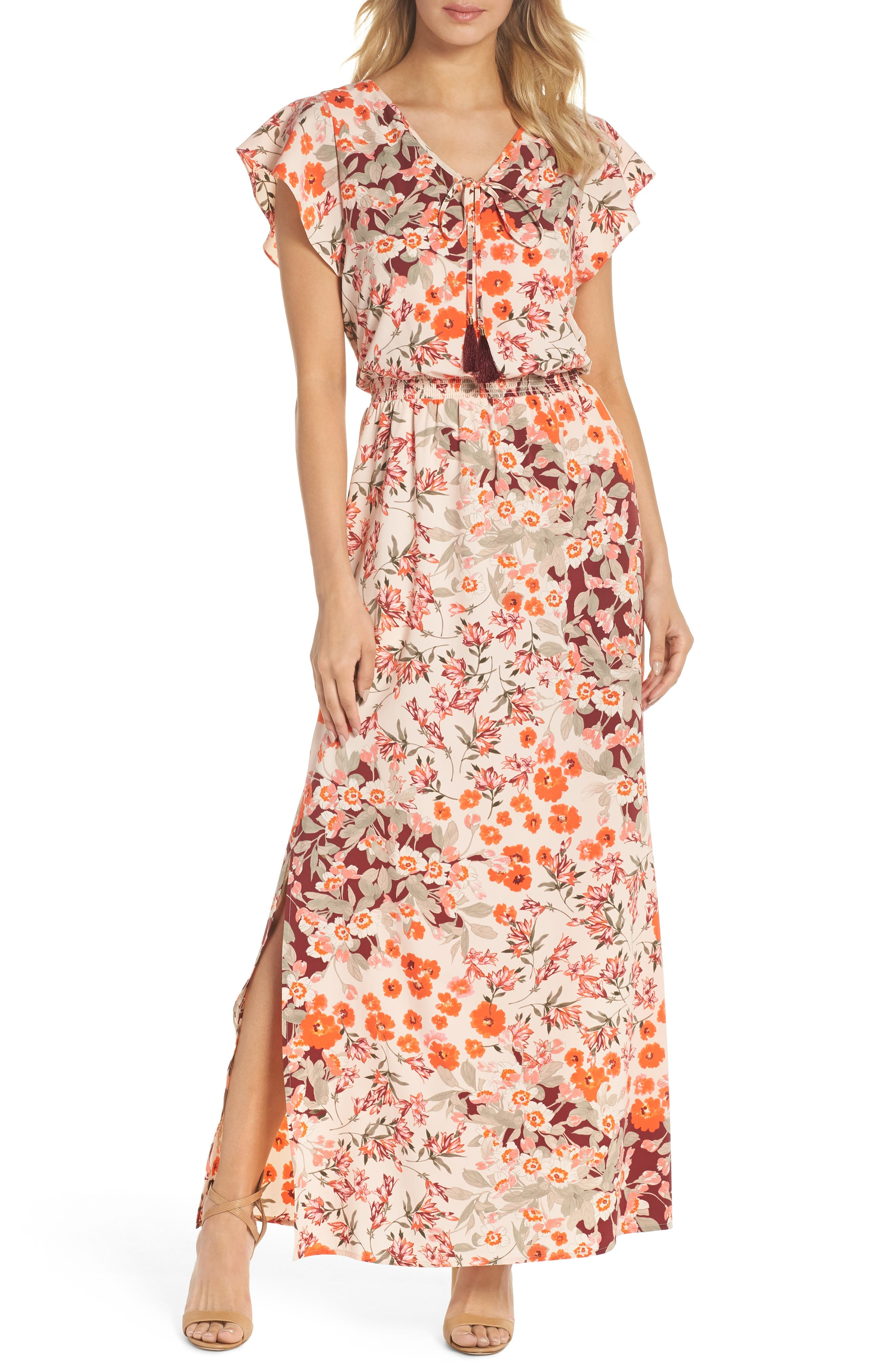 ADRIANNA PAPELL,                             Floral Ruffle Sleeve Maxi Dress,                             Main thumbnail 1, color,                             640