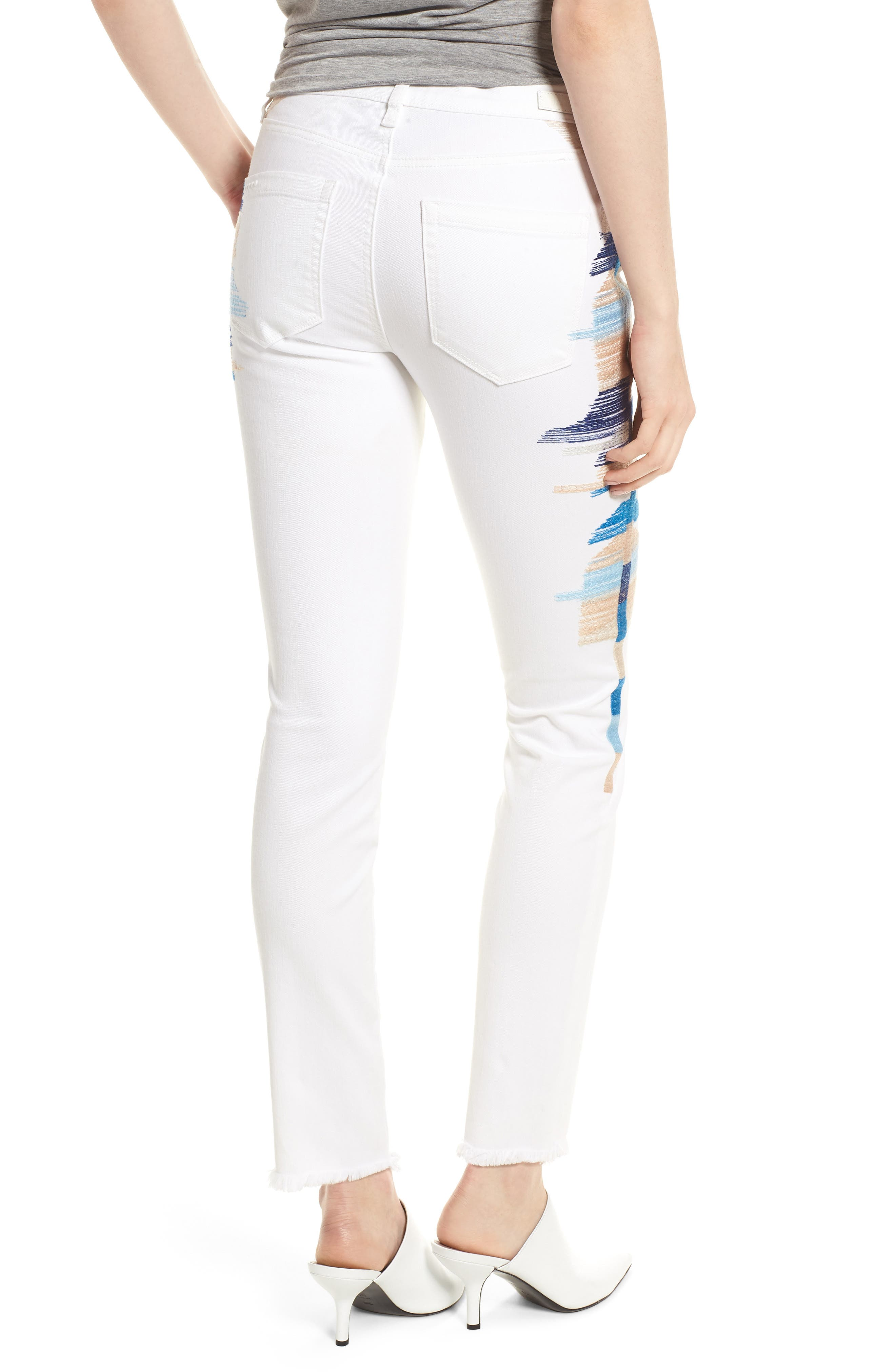 Bond Embroidered Skinny Jeans,                             Alternate thumbnail 2, color,                             110