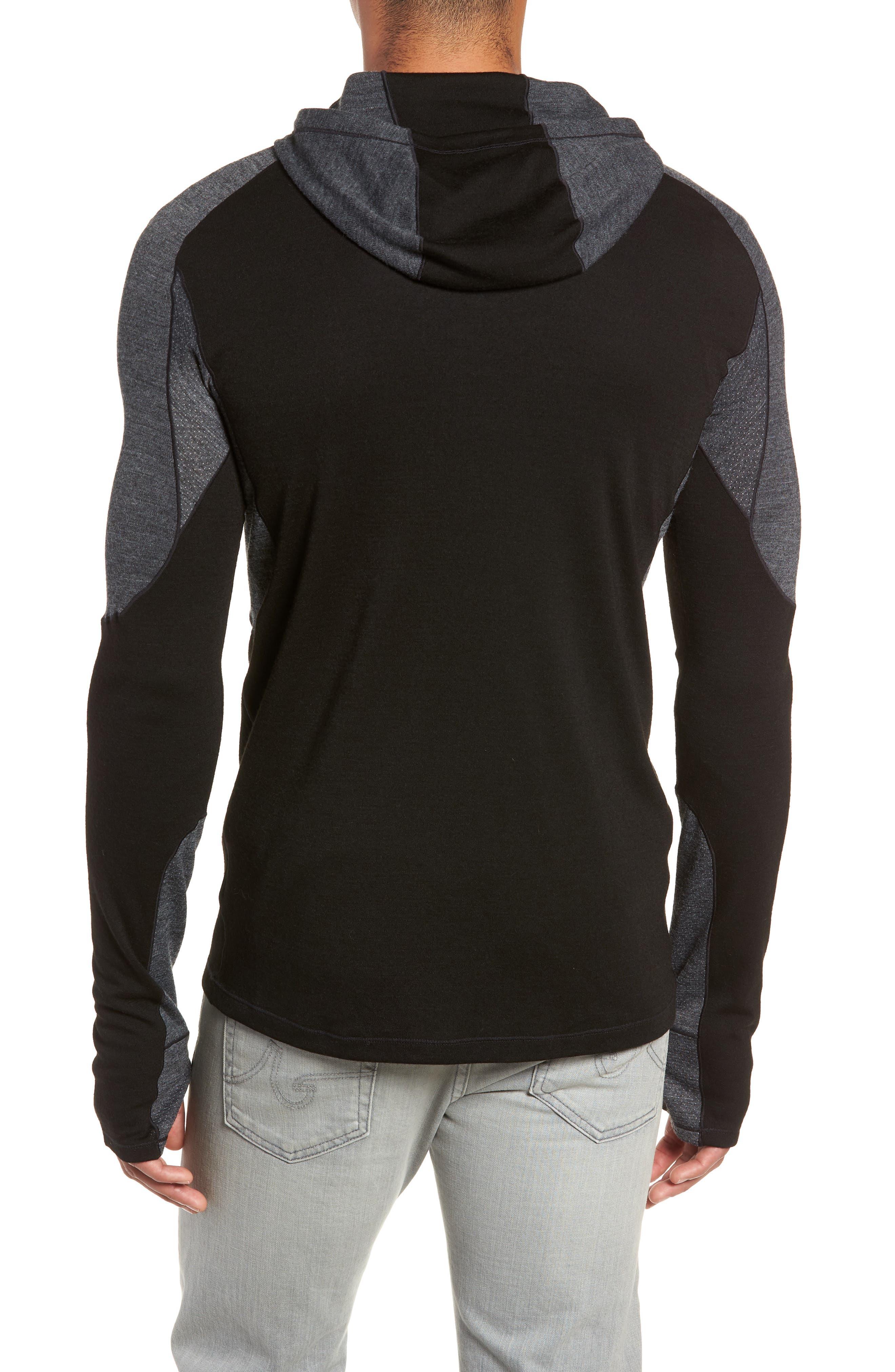 PhD<sup>®</sup> Light Merino Wool Blend Hooded Pullover,                             Alternate thumbnail 2, color,                             BLACK
