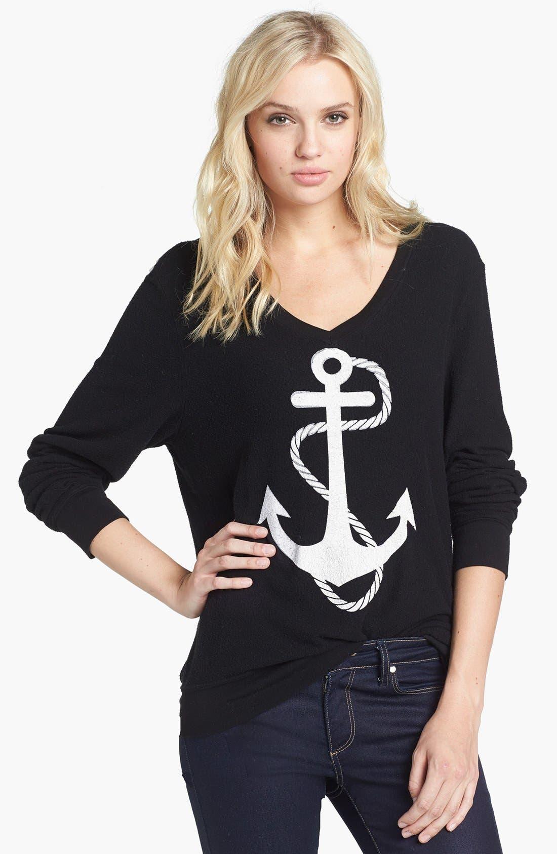 WILDFOX 'Anchor' V-Neck Sweater, Main, color, 001