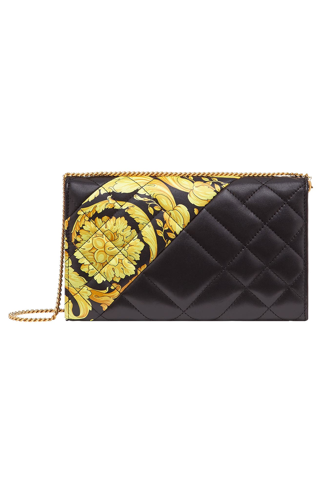 Baroque Icon Quilted Leather Crossbody Bag,                             Alternate thumbnail 3, color,                             BLACK MULTI/ TRIBUTE GOLD