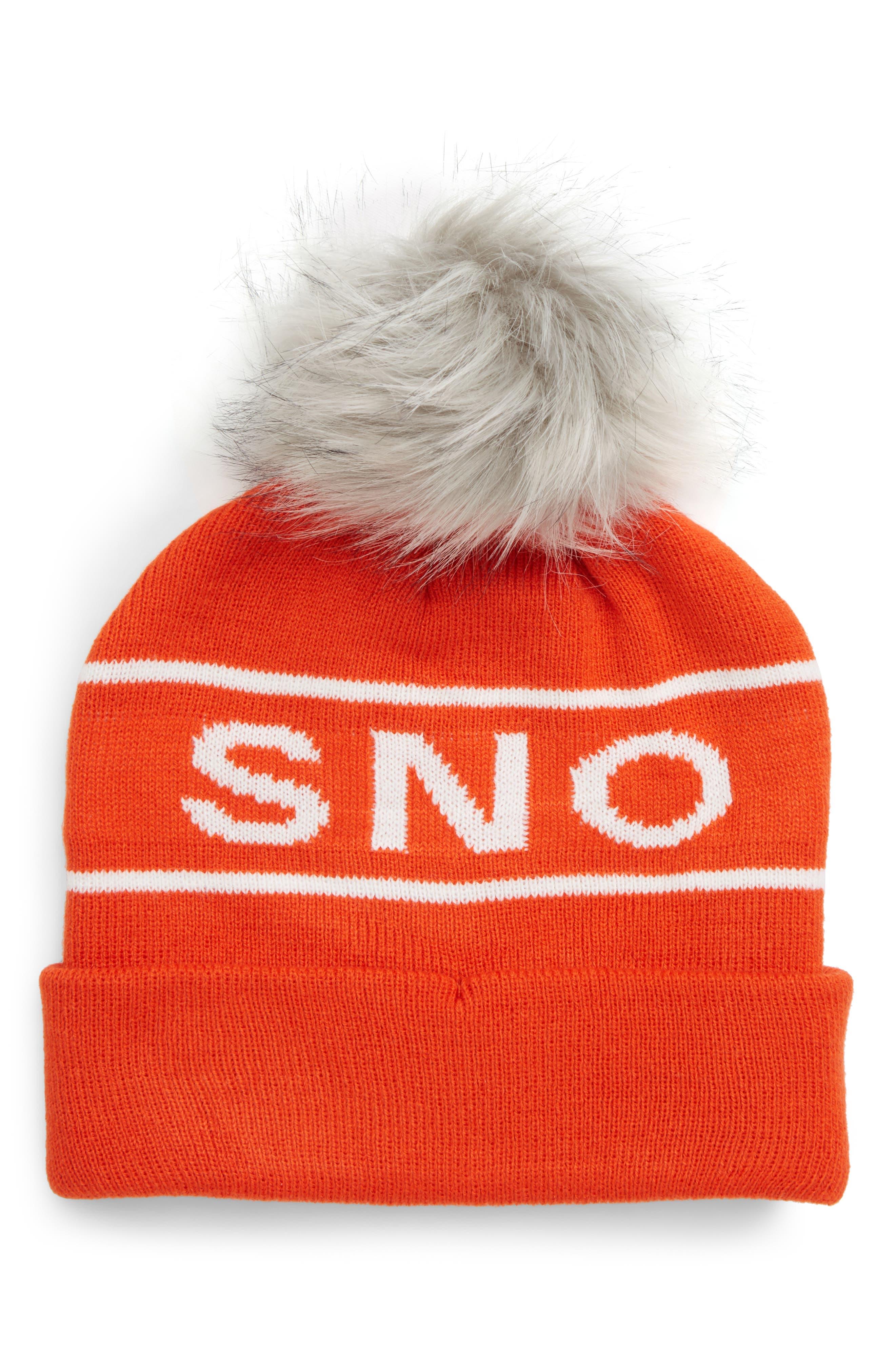 Sno Faux Fur Pom Beanie,                         Main,                         color, ORANGE