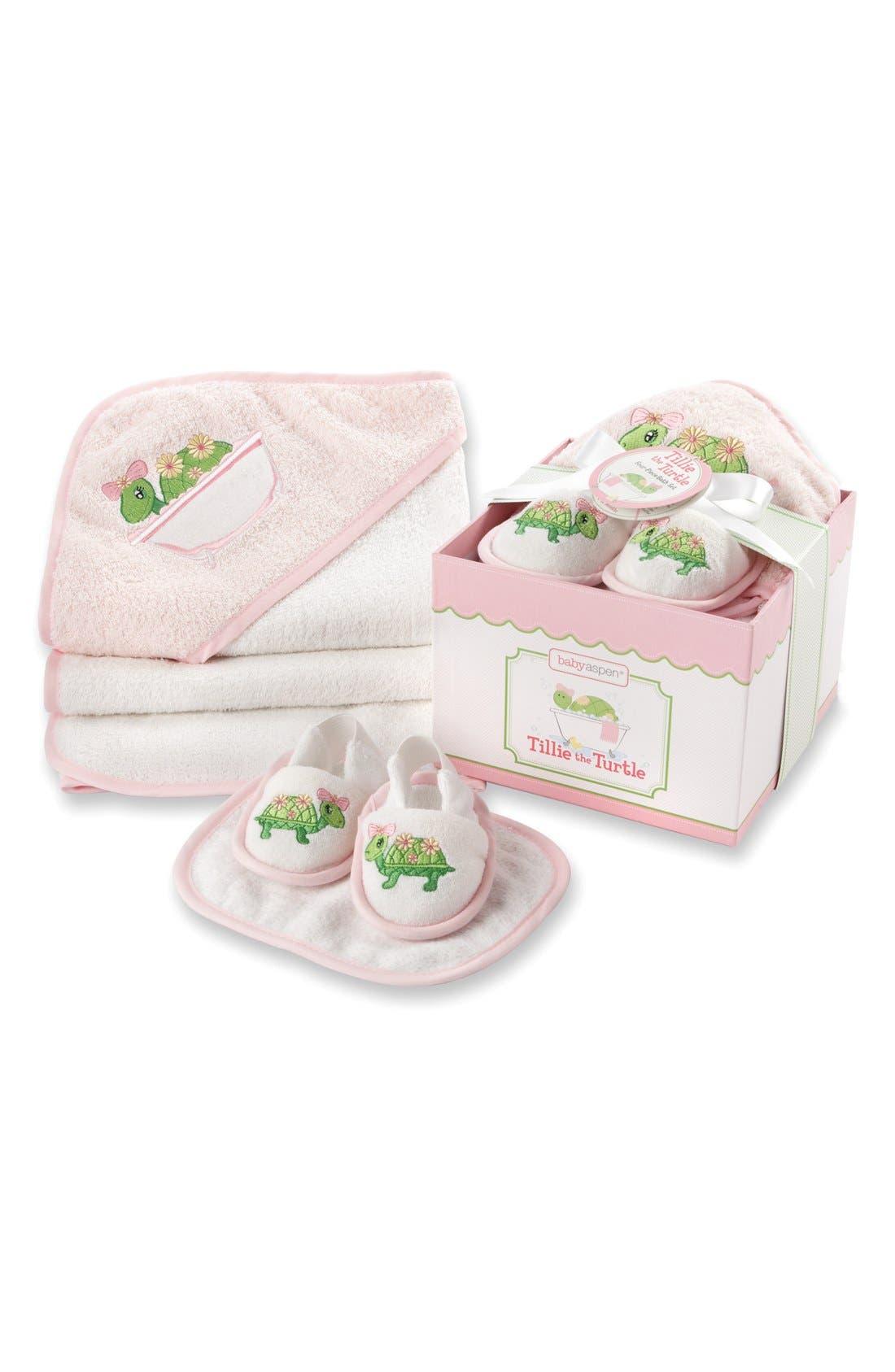 BABY ASPEN,                             Tillie the Turtle 4-Piece Bath Time Gift Set,                             Main thumbnail 1, color,                             690