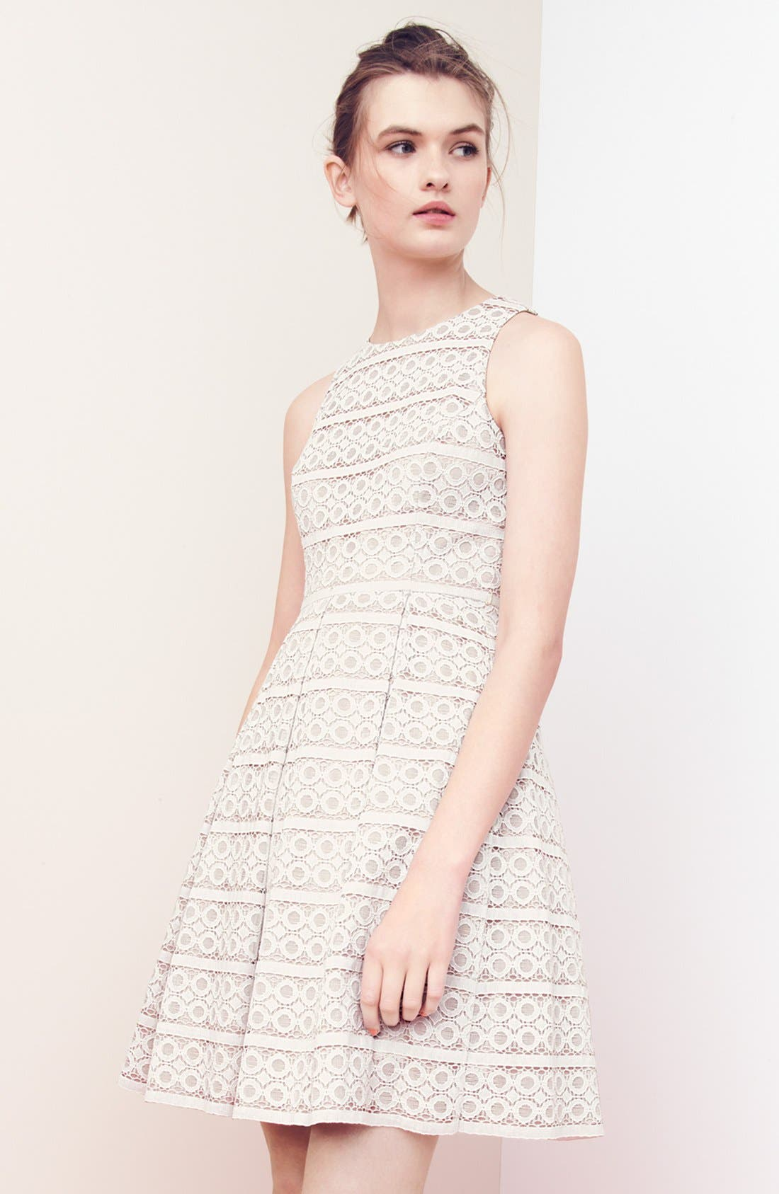 Belted Eyelet Lace Fit & Flare Dress,                             Alternate thumbnail 5, color,                             900