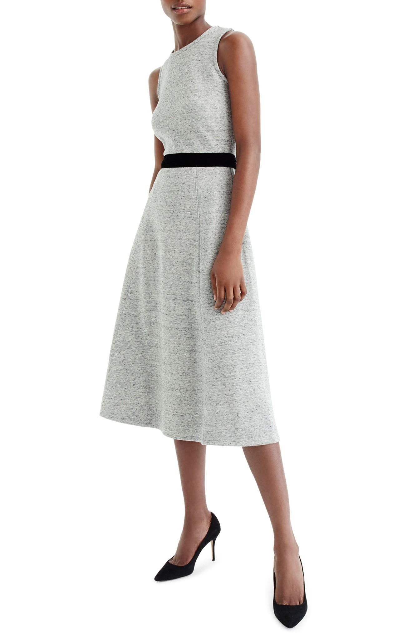 Velvet Tie A-Line Dress,                             Alternate thumbnail 6, color,                             020