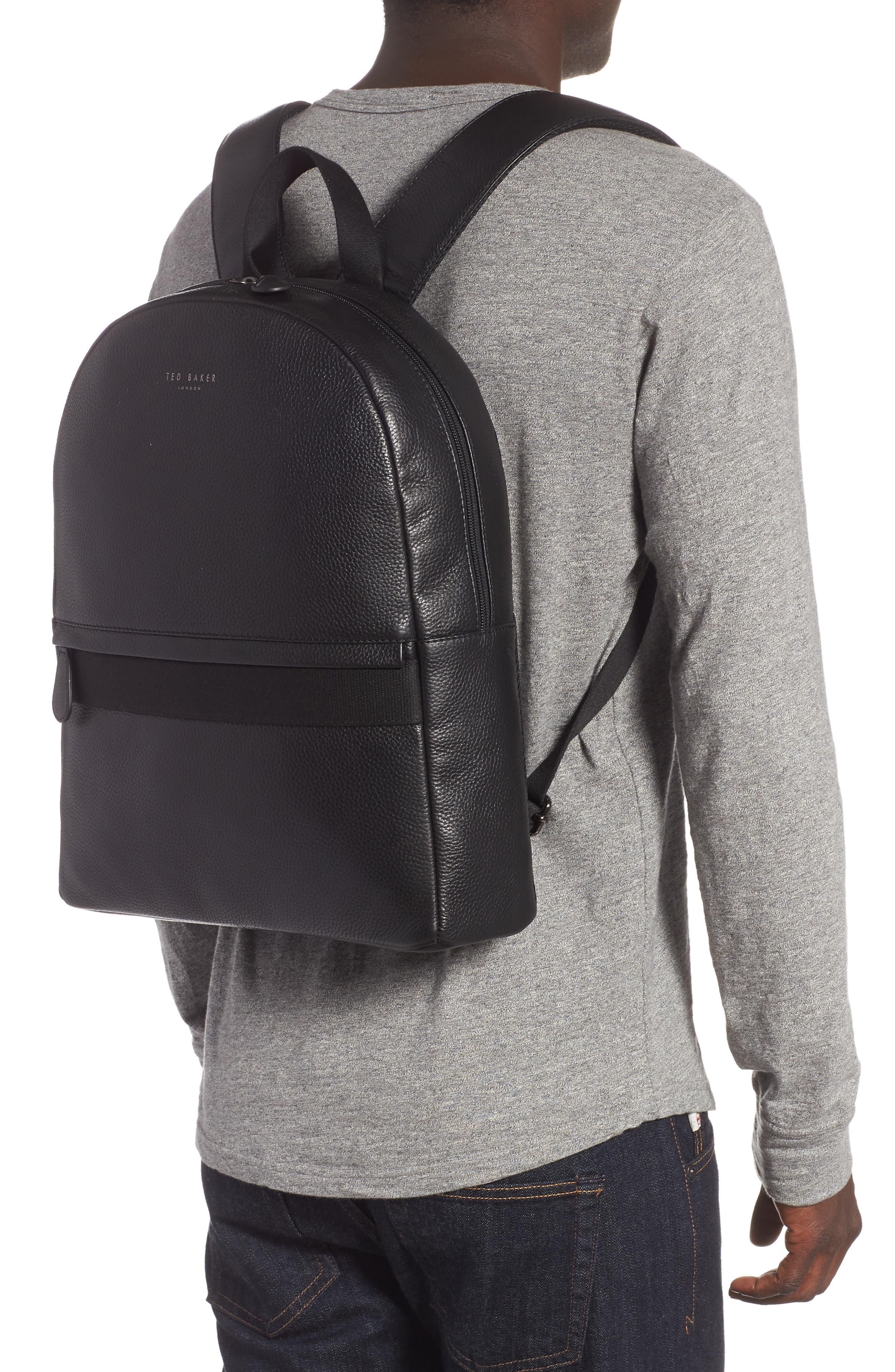 Rickrak Leather Backpack,                             Alternate thumbnail 2, color,                             BLACK
