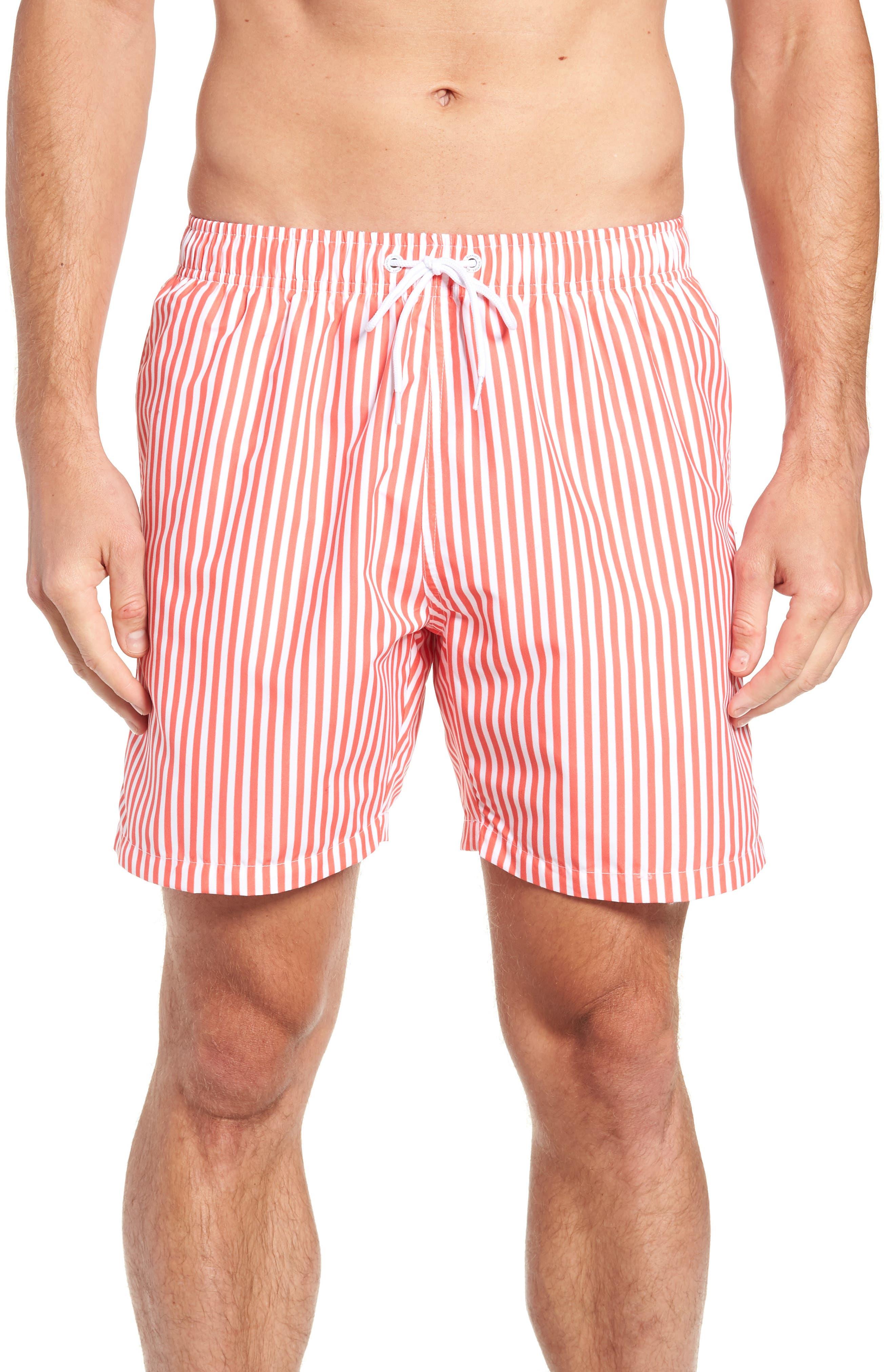 Deck Stripes Swim Trunks, Main, color, PINK